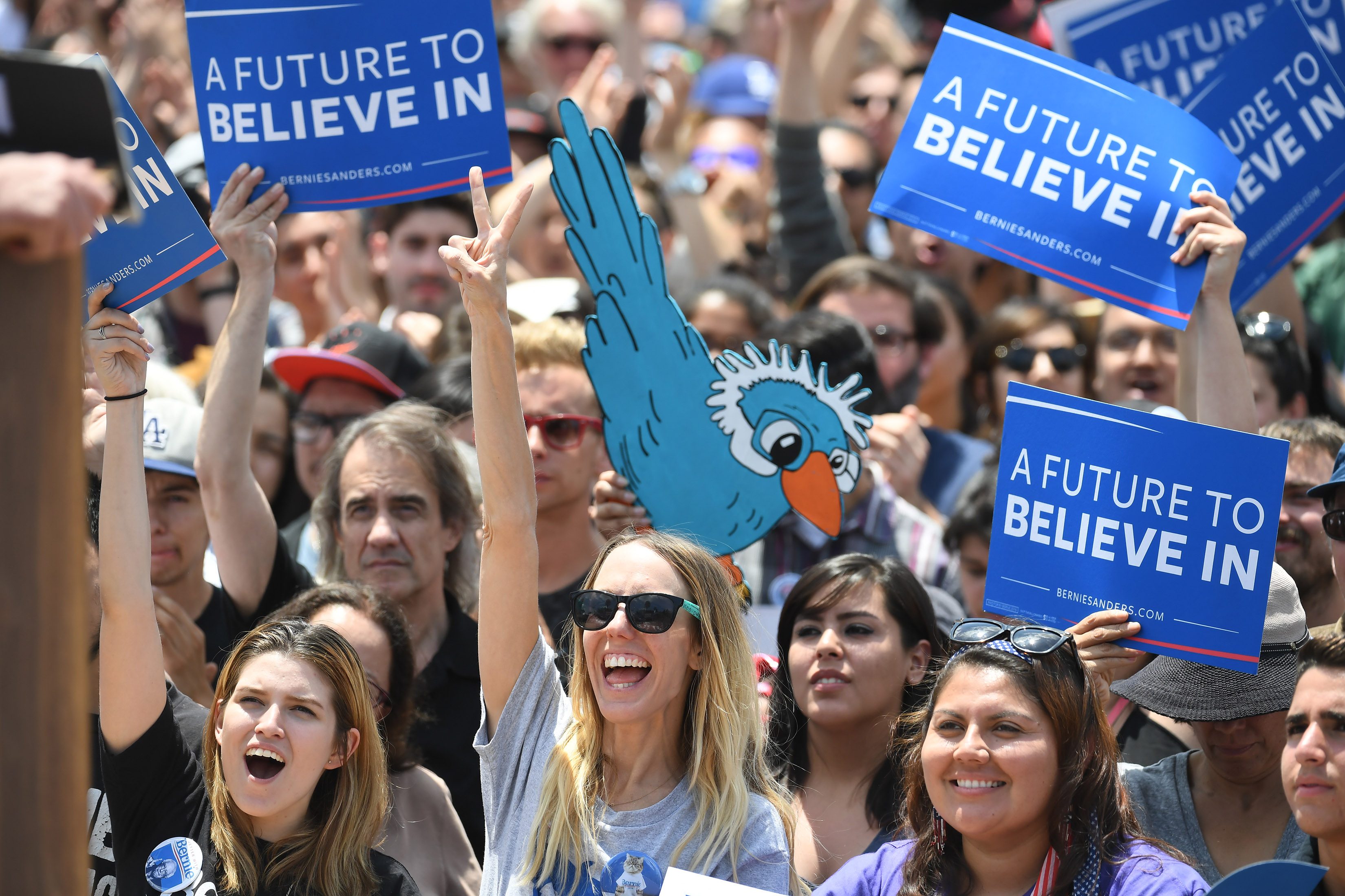 People listen as Bernie Sanders speaks during a rally at Lincoln Park on May 23, 2016 in Los Angeles.