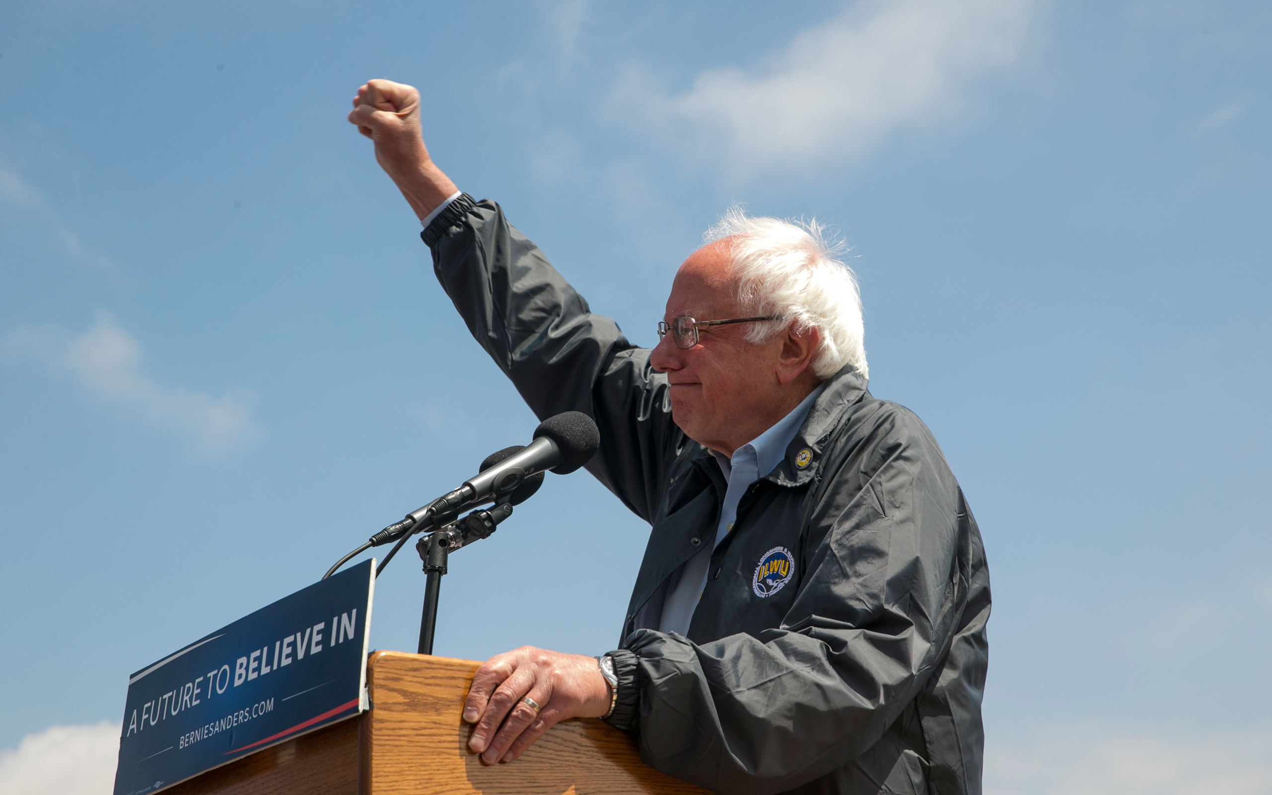 Democratic presidential candidate Sen. Bernie Sanders salutes at a campaign rally at the Los Angeles Maritime Museum in San Pedro district of Los Angeles on May 27, 2016.