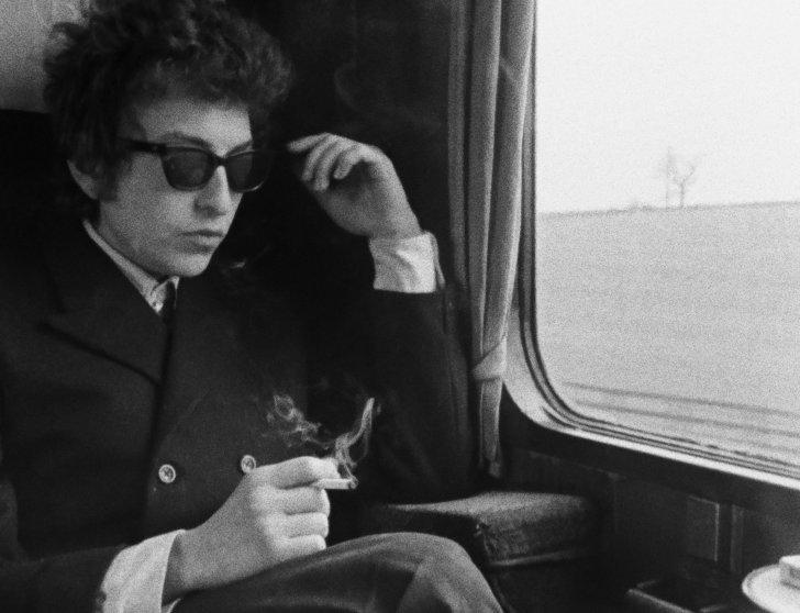 Bob Dylan en route to Manchester, England, 1965.
