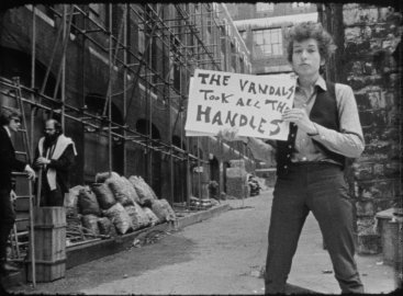 "Bob Dylan during the ""Subterranean Homesick Blues"" scene from Don't Look Back in London, 1965."
