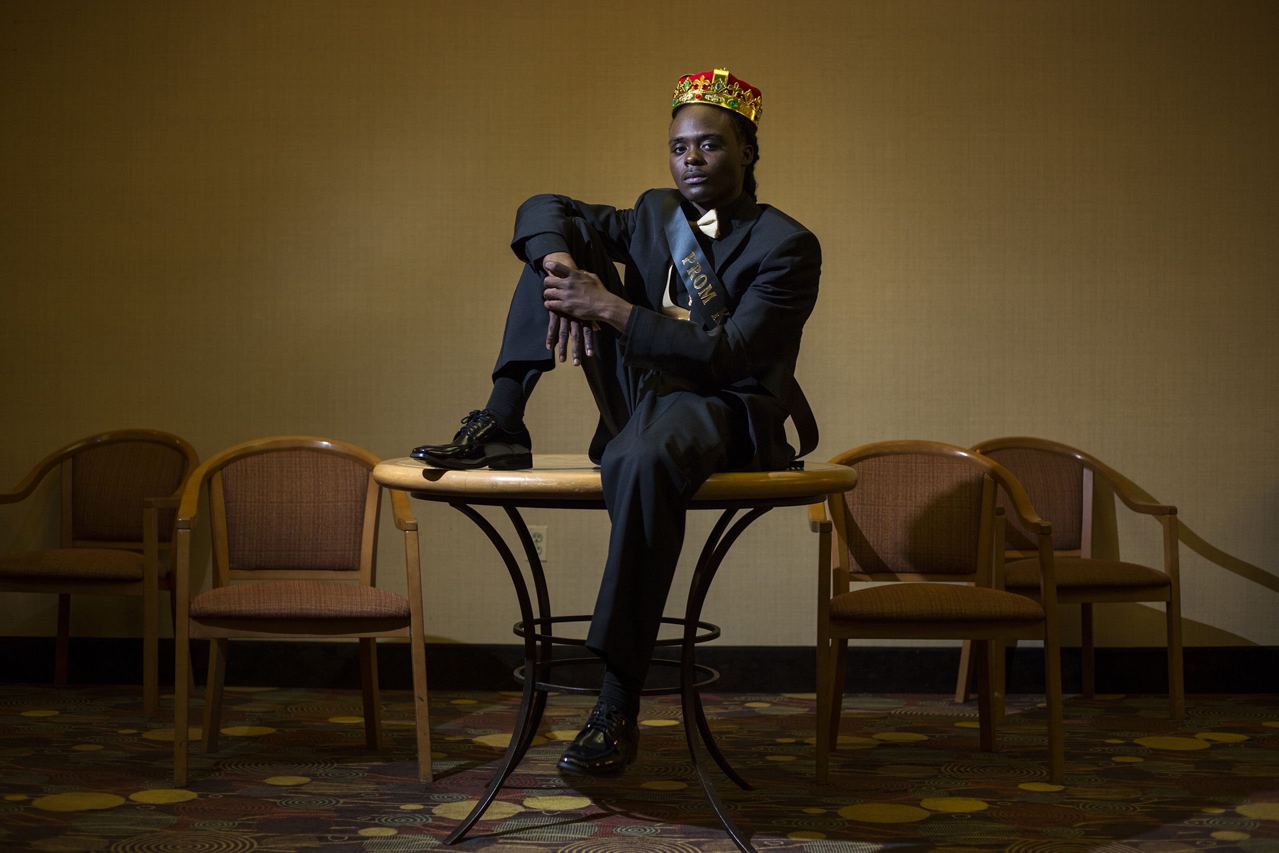 Prom king Mattek Scott, 18, of Flint, Mich., poses for a portrait at a Holiday Inn in Grand Blanc, May 21, 2016.  Not gonna lie, I tried to act surprised but I kind of knew,  Scott said, regarding his win.