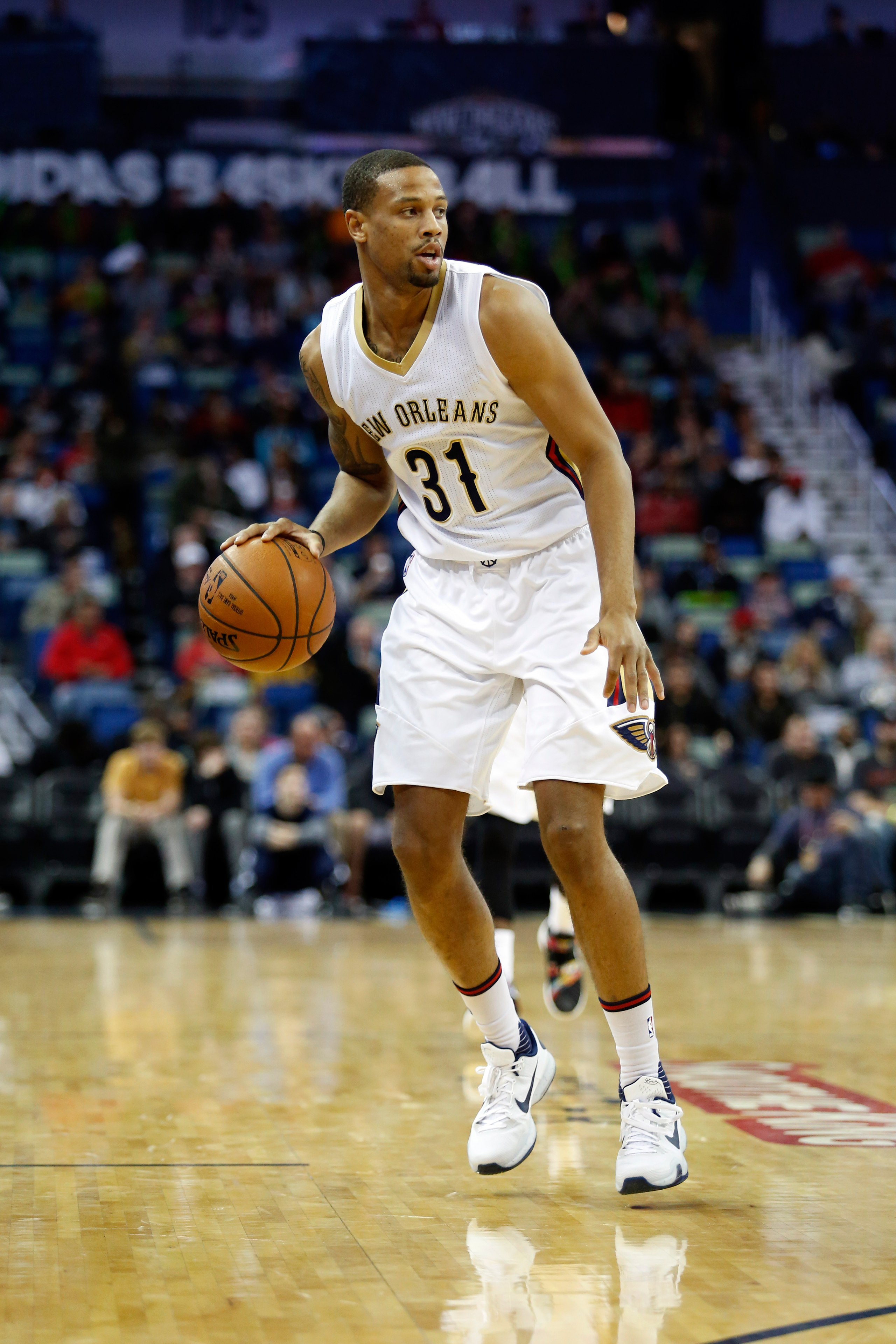 New Orleans Pelicans guard Bryce Dejean-Jones during the first half of an NBA basketball game against the Utah Jazz in New Orleans on Feb. 10, 2016.