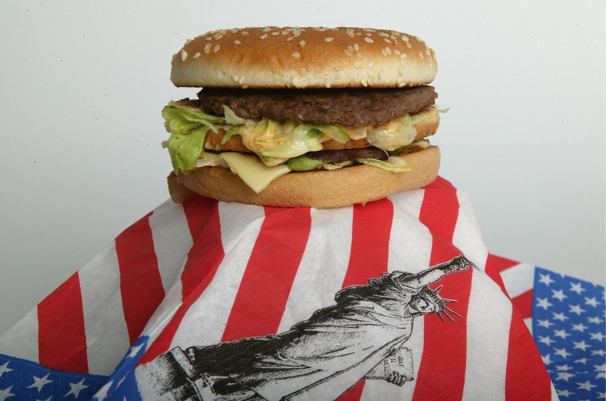 A Big Mac on an American flag napkin