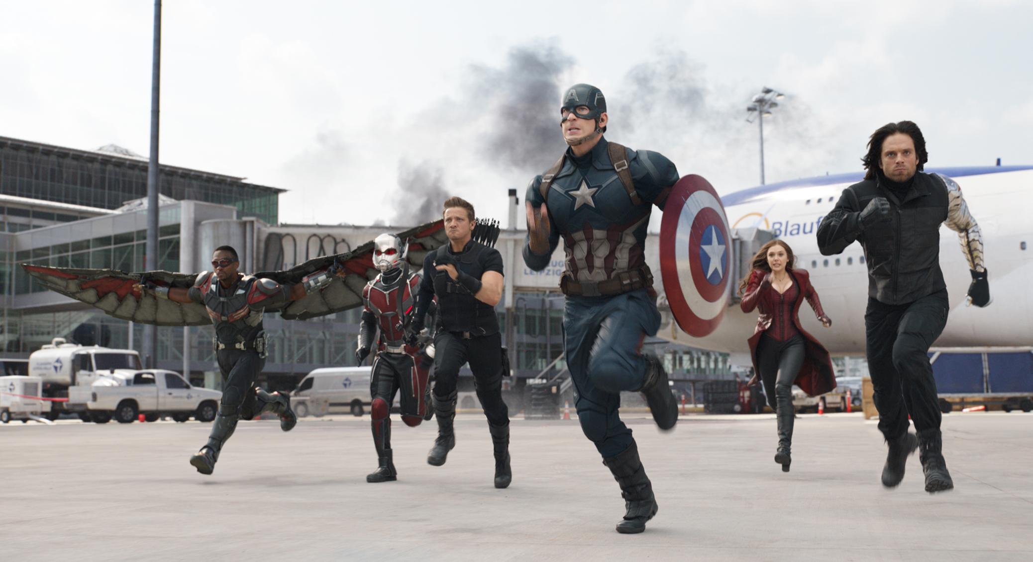 From left: Anthony Mackie, Paul Rudd, Jeremy Renner, Chris Evans, Elizabeth Olsen, and Sebastian Stan in Captain America: Civil War.