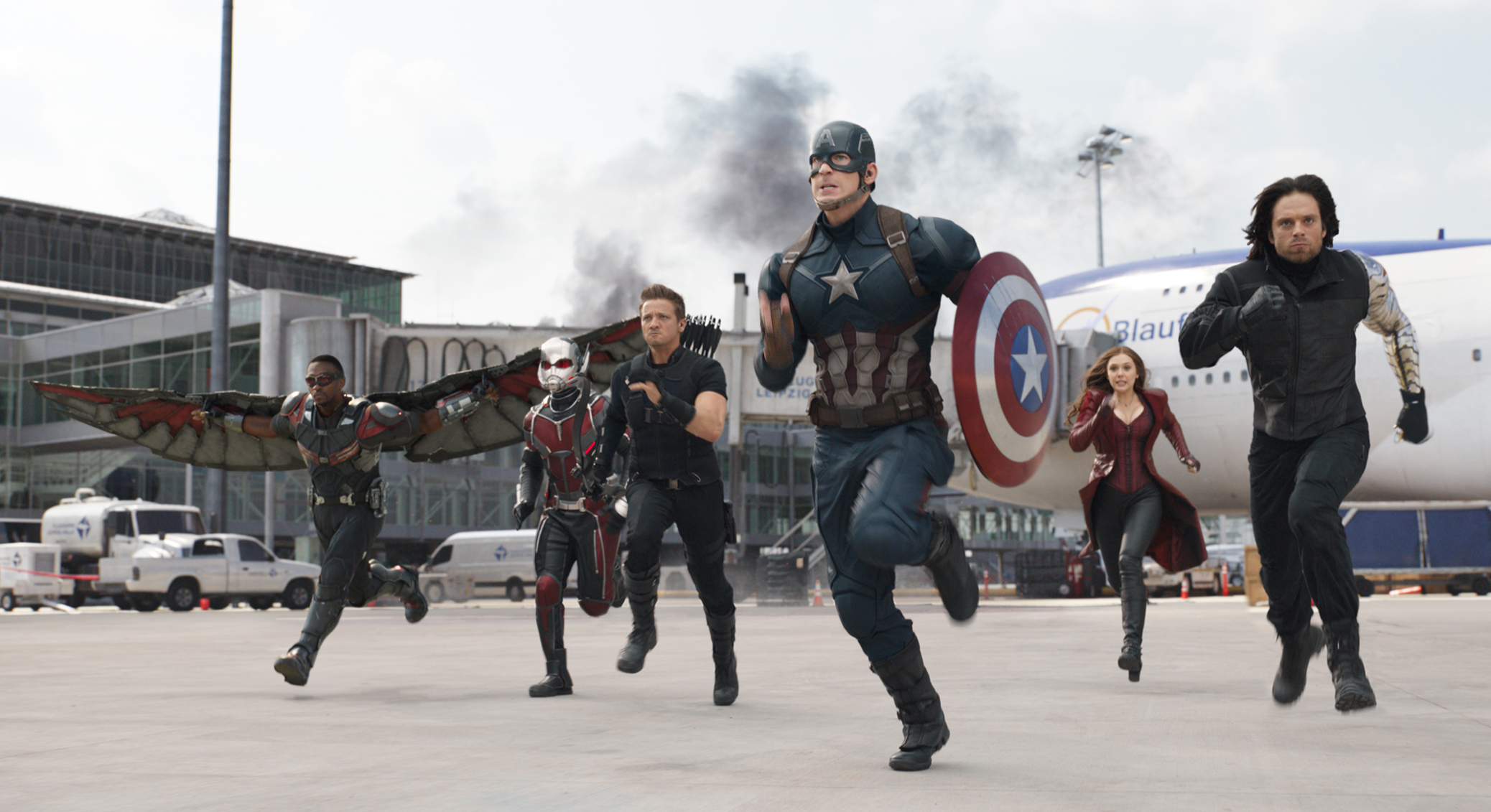 In this image released by Disney, Anthony Mackie, from left,  Paul Rudd, Jeremy Renner, Chris Evans, Elizabeth Olsen and Sebastian Stan appear in a scene from  Captain America: Civil War.  (Disney-Marvel via AP)