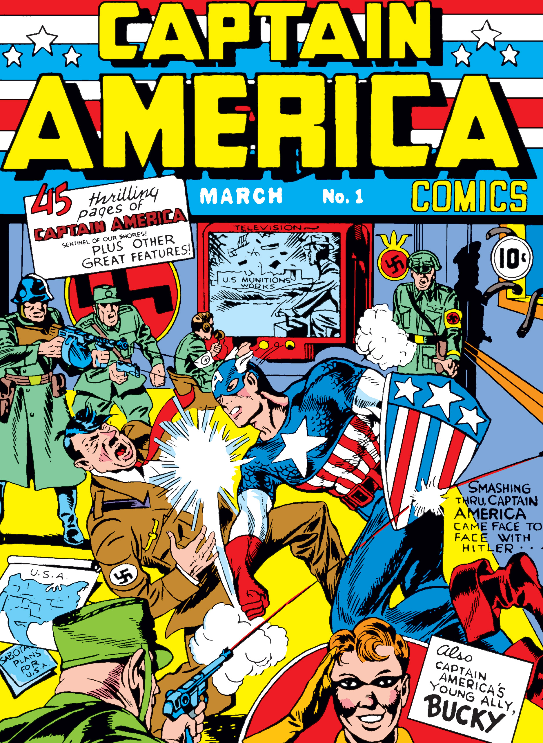 The first cover of Marvel comic Captain America.