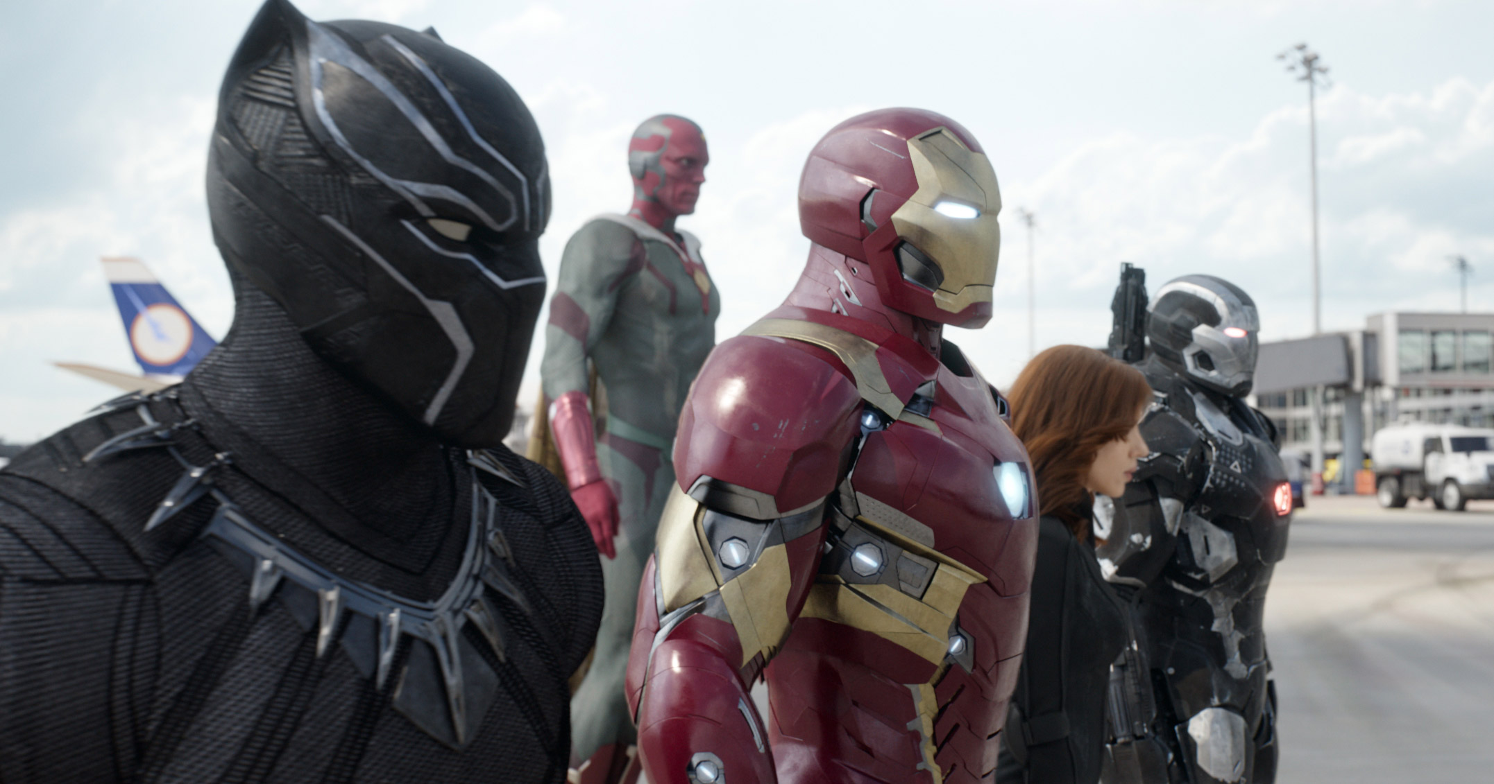 Chadwick Boseman, from left, as Panther, Paul Bettany as Vision, Robert Downey Jr. as Iron Man, Scarlett Johansson as Natasha Romanoff, and Don Cheadle as War Machine in a scene from  Marvel's Captain America: Civil War.