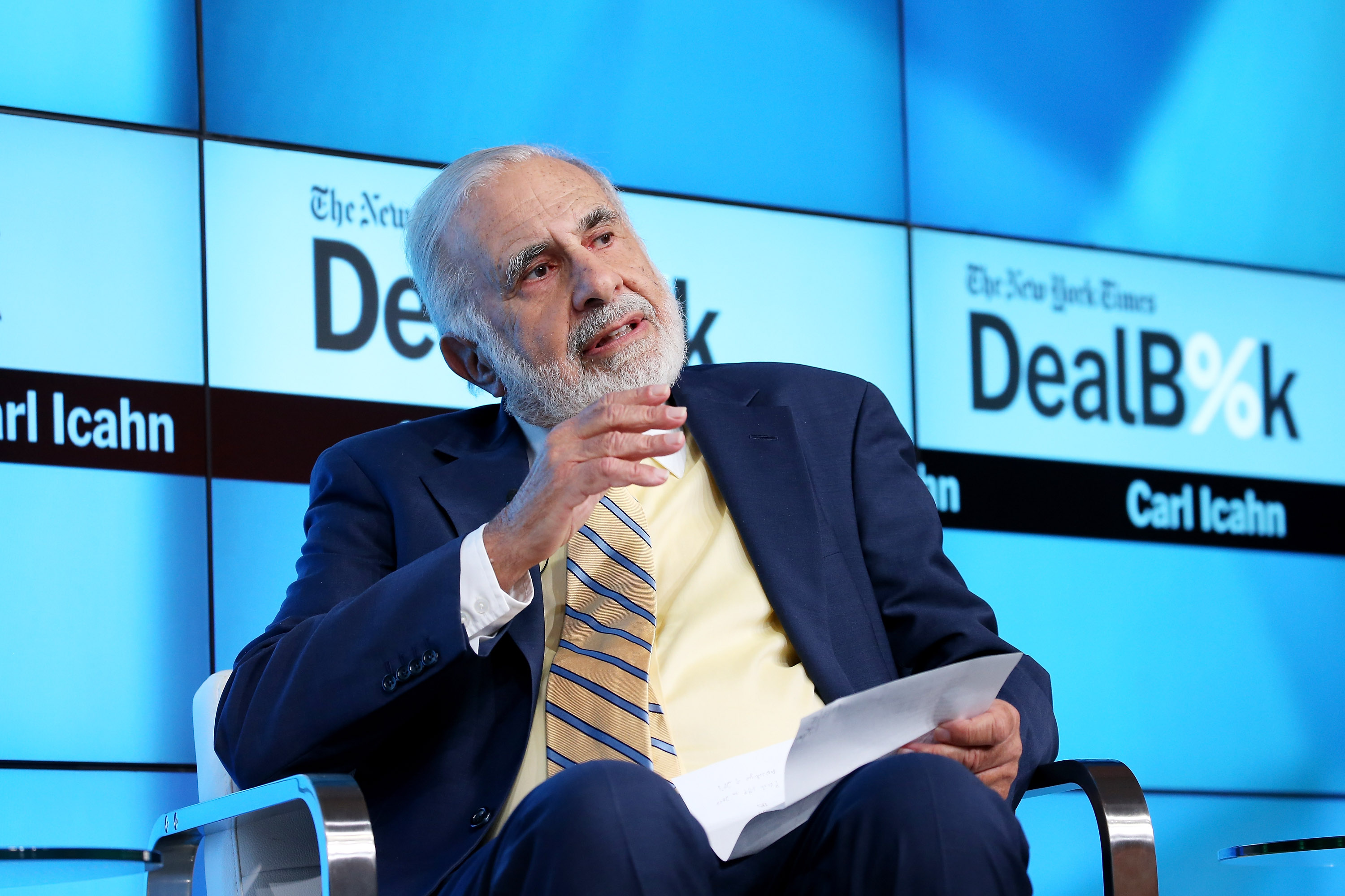 Chairman of Icahn Enterprises Carl Icahn participates in a panel discussion at the New York Times 2015 DealBook Conference at the Whitney Museum of American Art on November 3, 2015 in New York City.