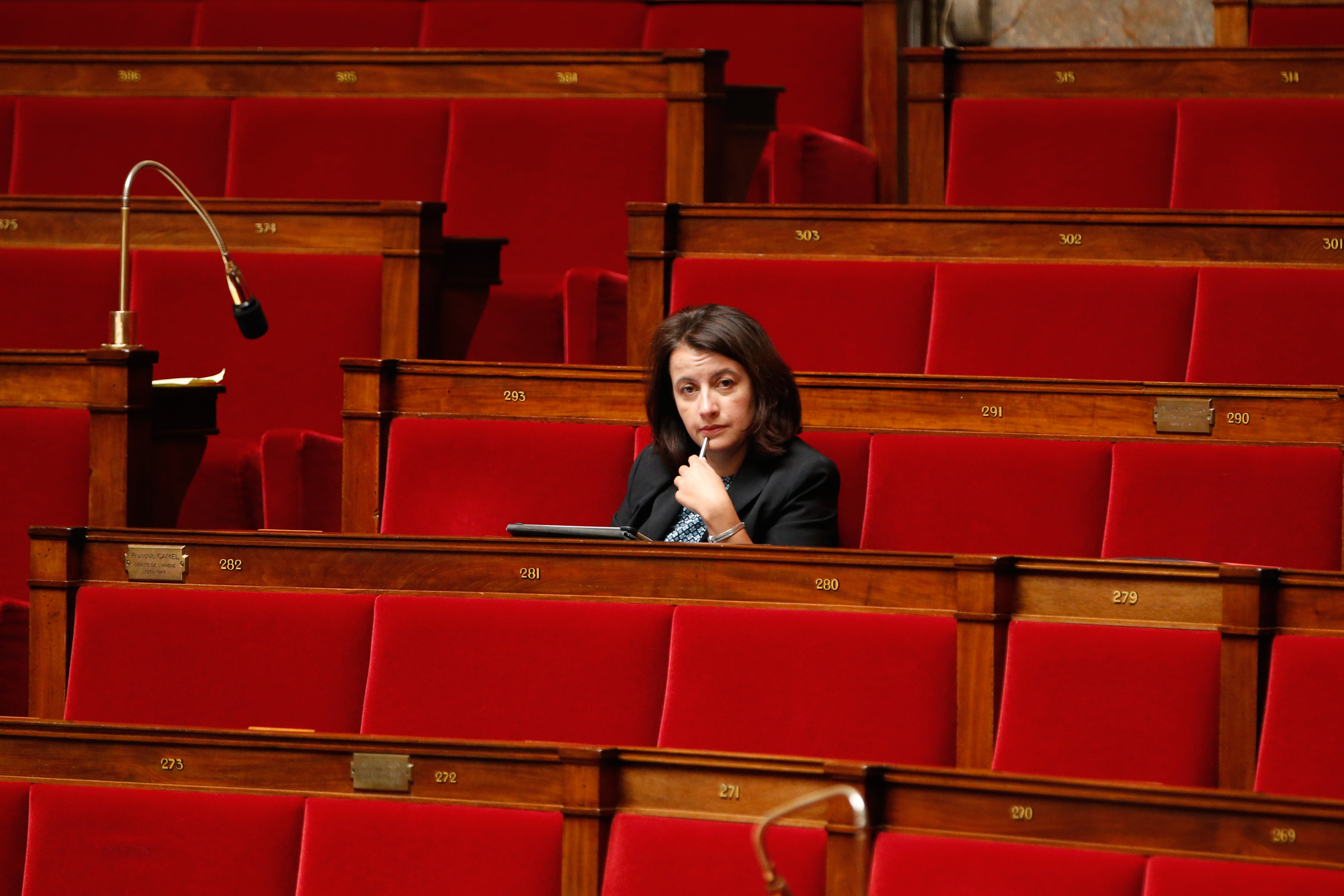 French Green Party deputy Cecile Duflot attends the questions to the government session at the National Assembly in Paris on Oct. 14, 2014.
