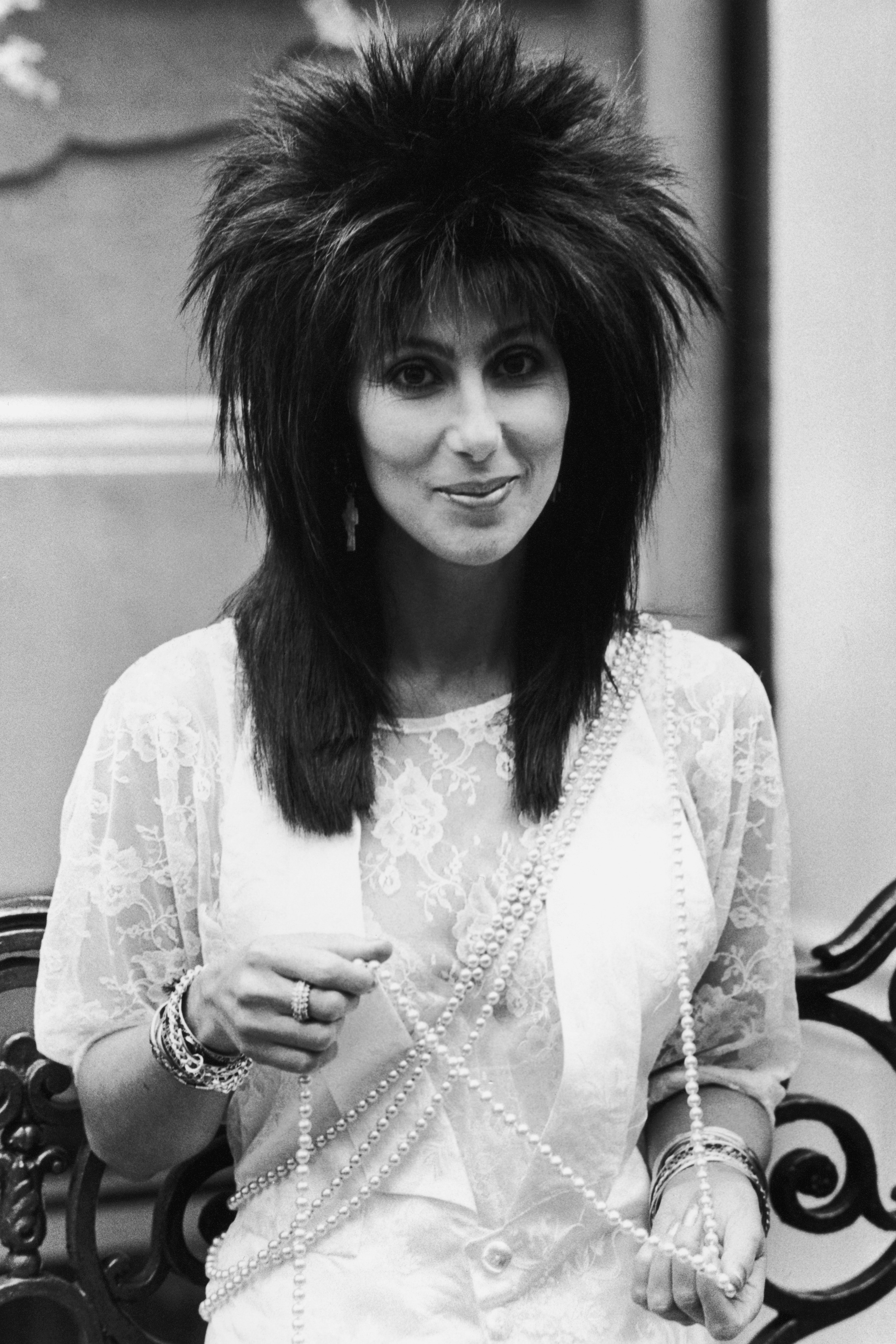 Cher promotes the film Mask in London on June 1, 1985.