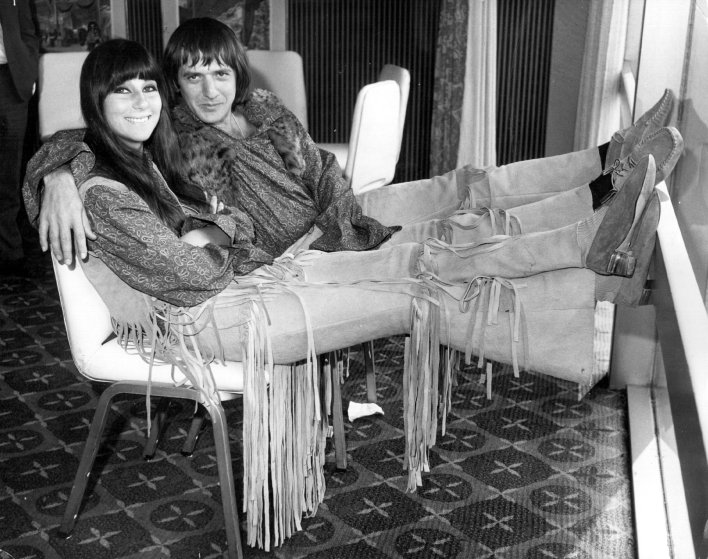 Cher and Sonny Bono in London on Aug. 3, 1965.