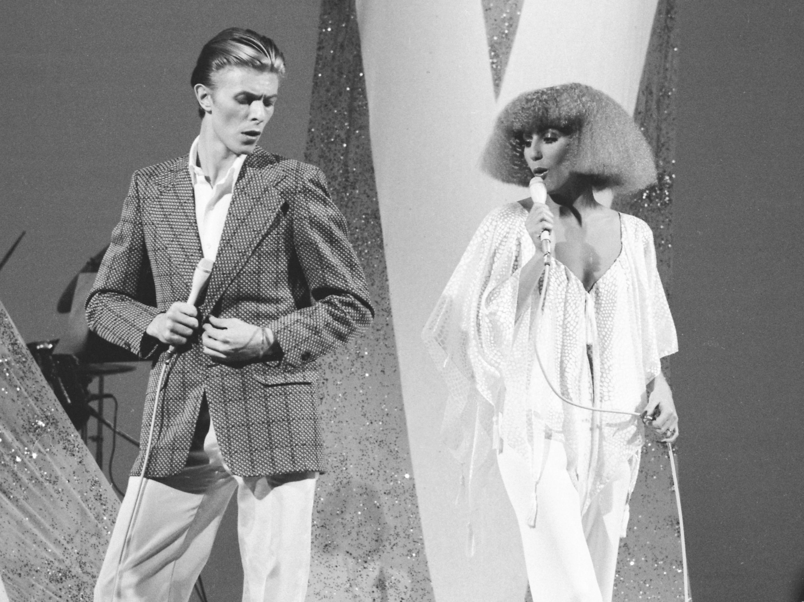 David Bowie and Cher perform on the variety television show Cher on Sept. 18, 1975 in Los Angeles.