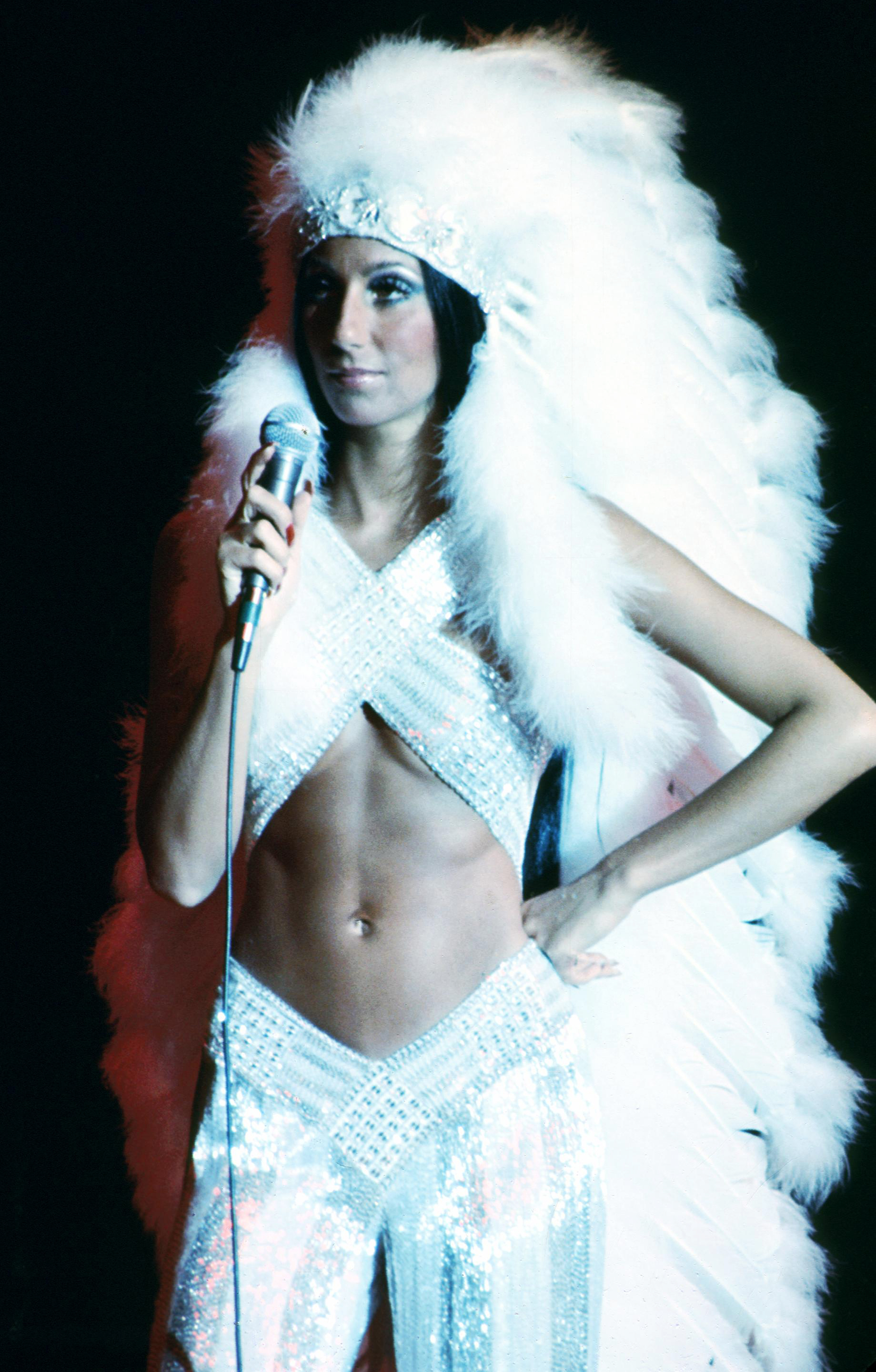 Cher performs at the Rock Music Awards at the Santa Monica Civic Auditorium in Los Angeles on Aug. 9, 1975.