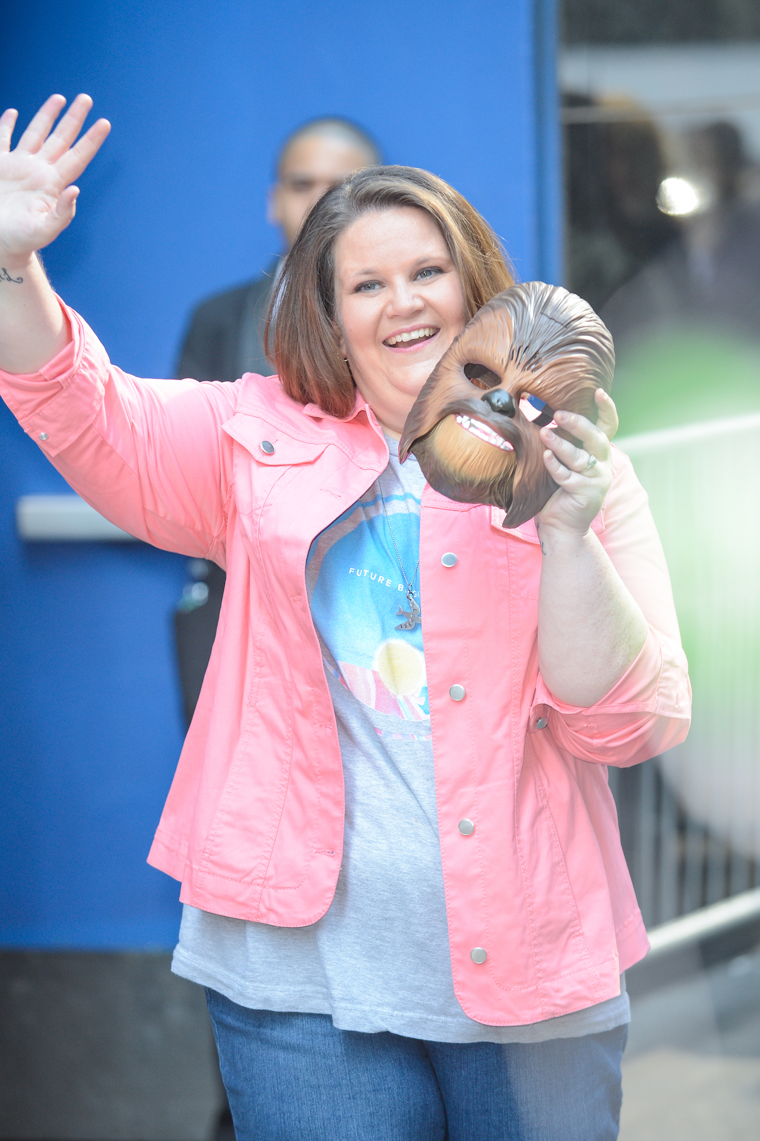 Candace Payne,  Chewbacca mom , leaves the  Good Morning America  taping at the ABC Times Square Studios in New York City on May 23, 2016.