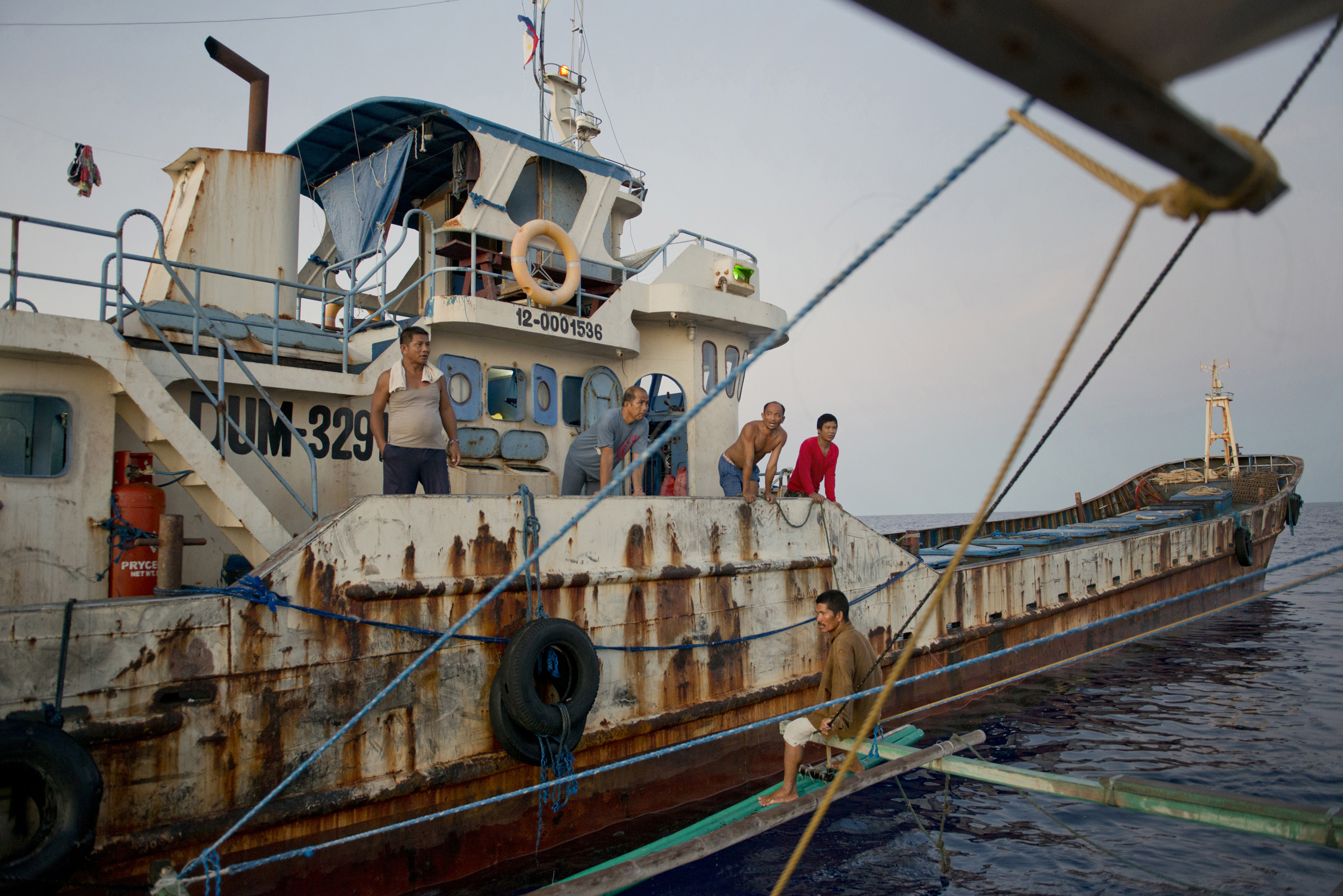 "A tuna fishing boat from  General Santos City in Mindanao, gives the ""Wonder Boy"" help with directions, May 9, 2016."