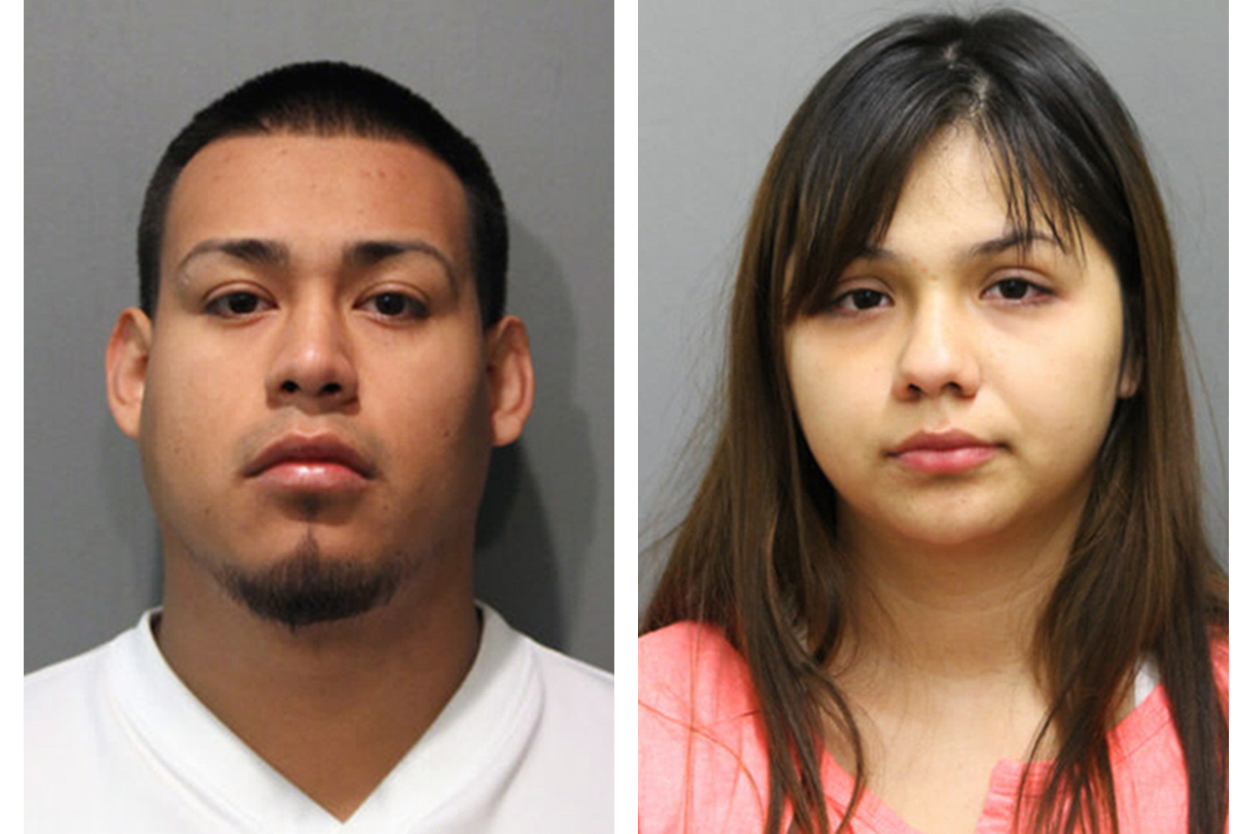 This combination of booking photos provided by the Chicago Police Department on Thursday, May 19, 2016 shows Diego Uribe Cruz and his girlfriend, Jafeth Ramos,  who were arrested Thursday and charged with six counts of first-degree murder in the killings of six members of a family in Chicago's Gage Park neighborhood.