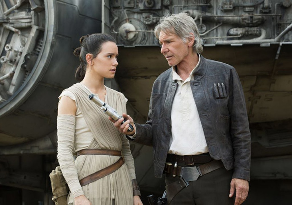 Daisy Ridley and Harrison Ford in Star Wars: The Force Awakens.