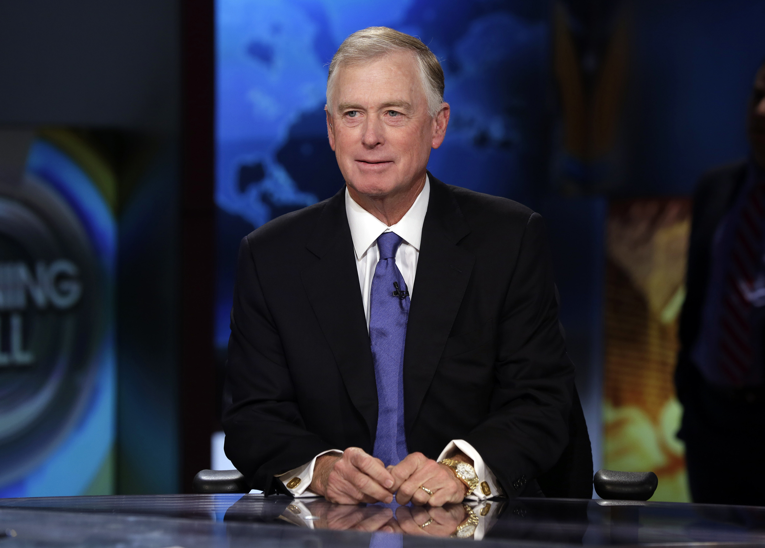Dan Quayle is interviewed by Maria Bartiromo in New York, July 24, 2014.