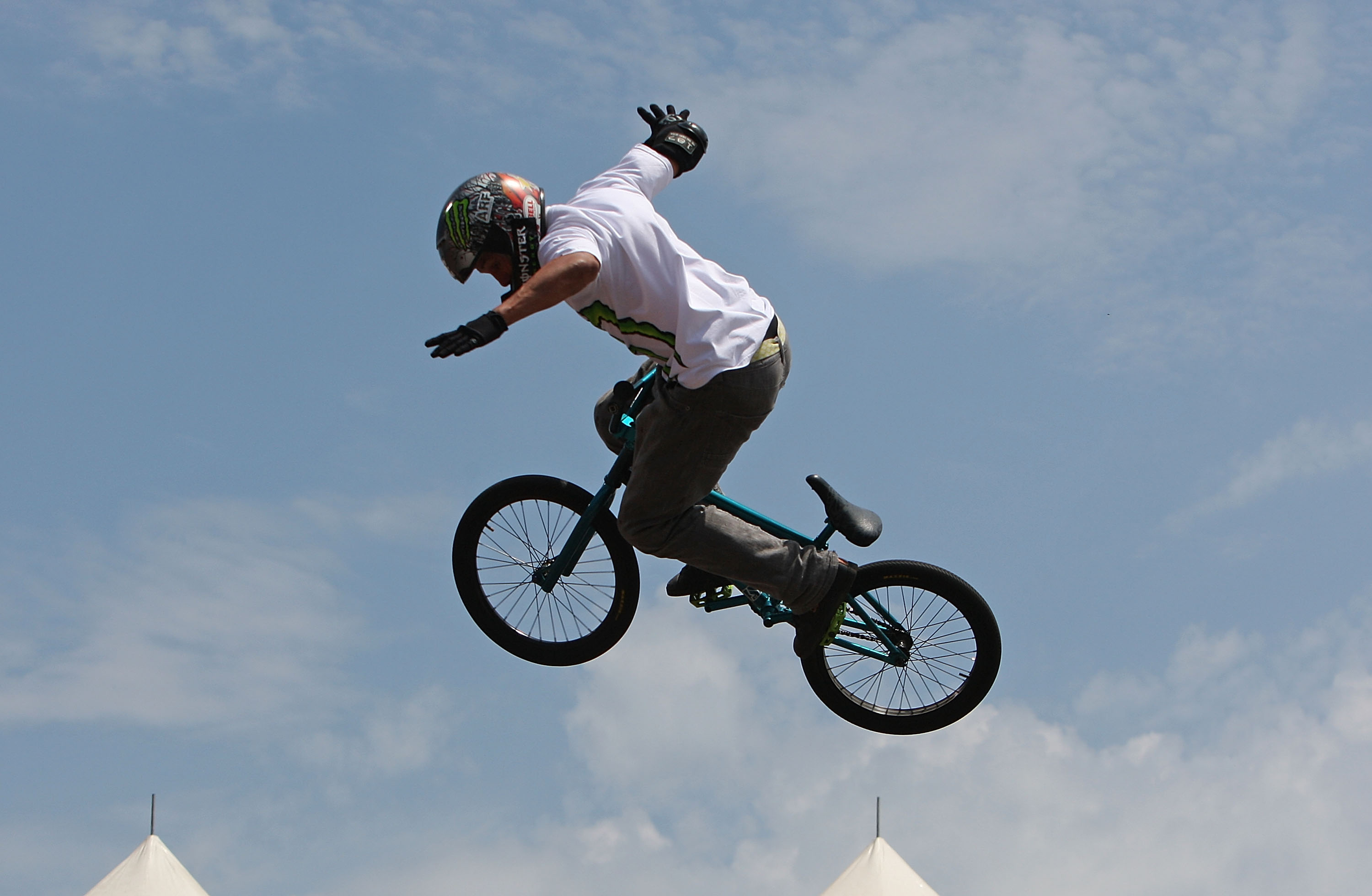 Dave Mirra performs on his way to first place during the BMX Park Final of the Nike 6.0 BMX Open on June 27, 2009 at Grant Park in Chicago, Illinois.