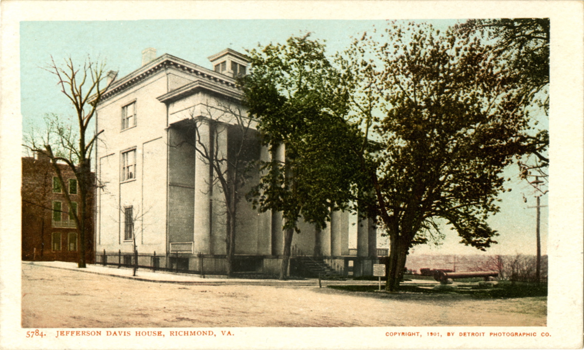 Postcard view of the exterior of the Jefferson Davis house in Richmond, Va.