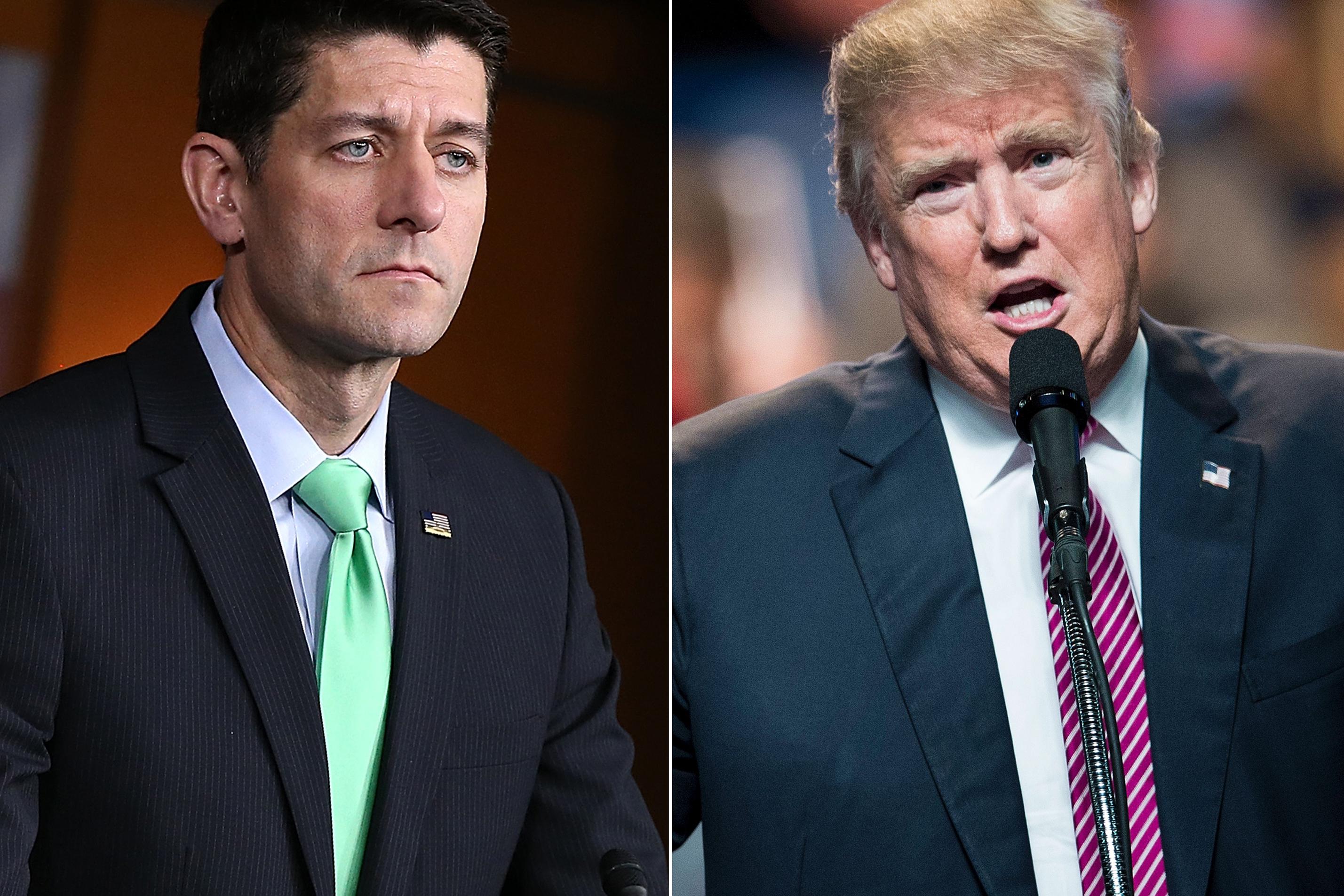 Paul Ryan in Washington, on April 28, 2016 (L); Donald Trump in Charleston, West Virginia, on May 5, 2016.