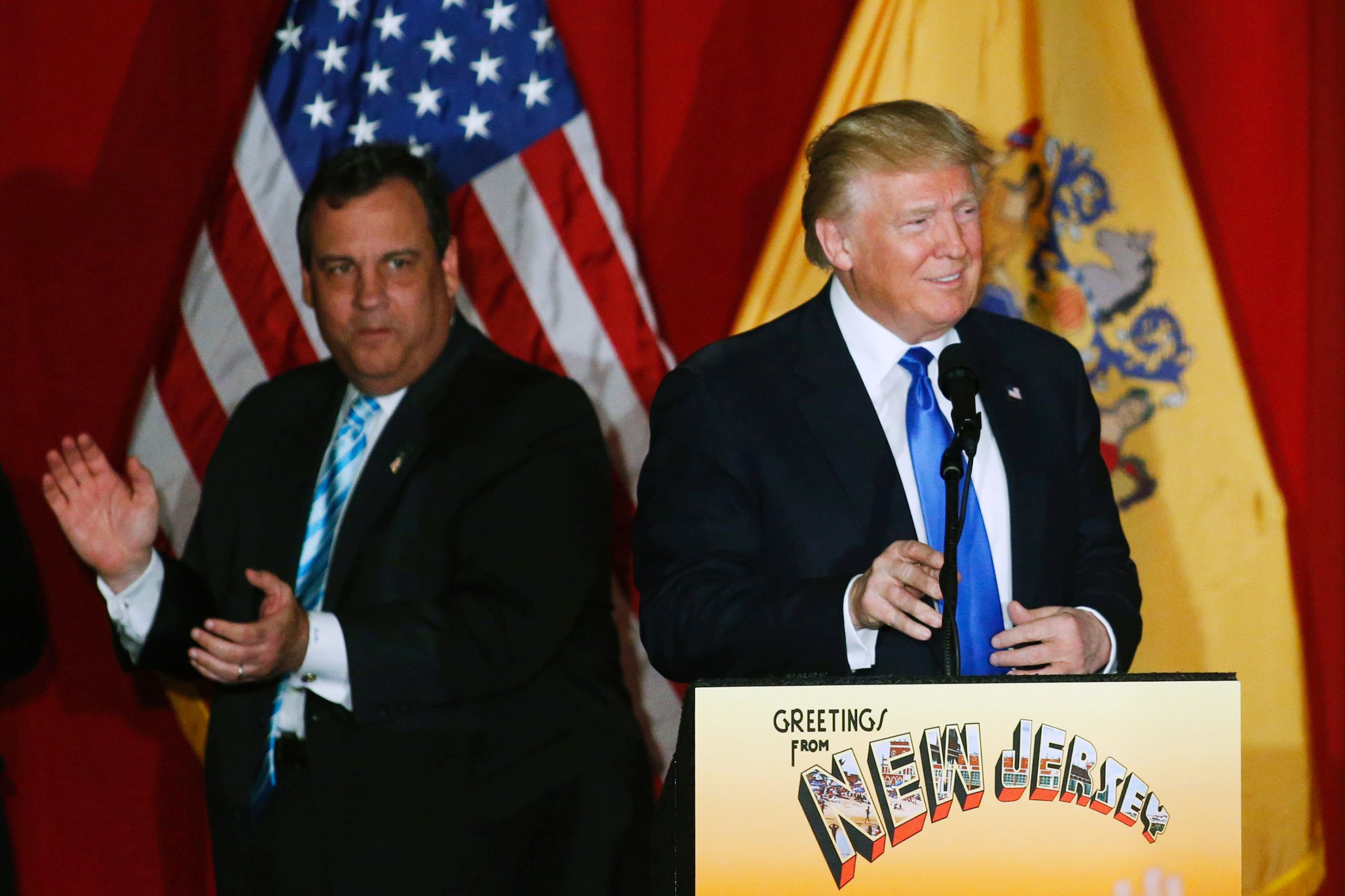 Republican presidential candidate Donald Trump and New Jersey Gov. Chris Christie greet the crowd at a fundraising event in Lawrenceville, N.J. on May 19, 2016.