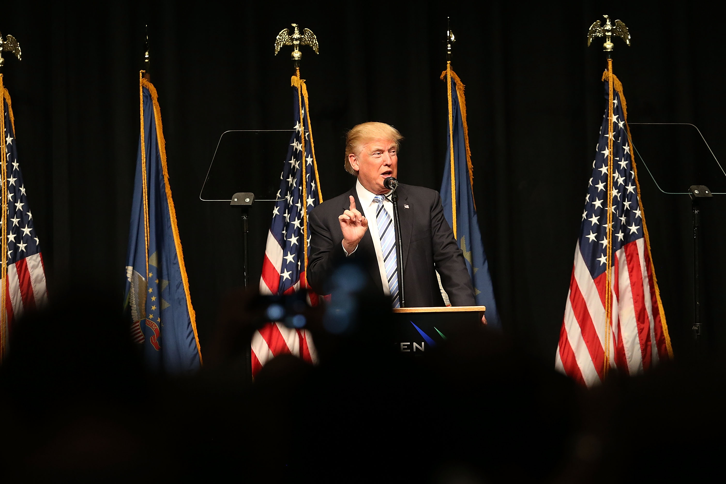 Republican presidential candidate Donald Trump speaks on energy policy on May 26, 2016 in Bismarck, North Dakota.