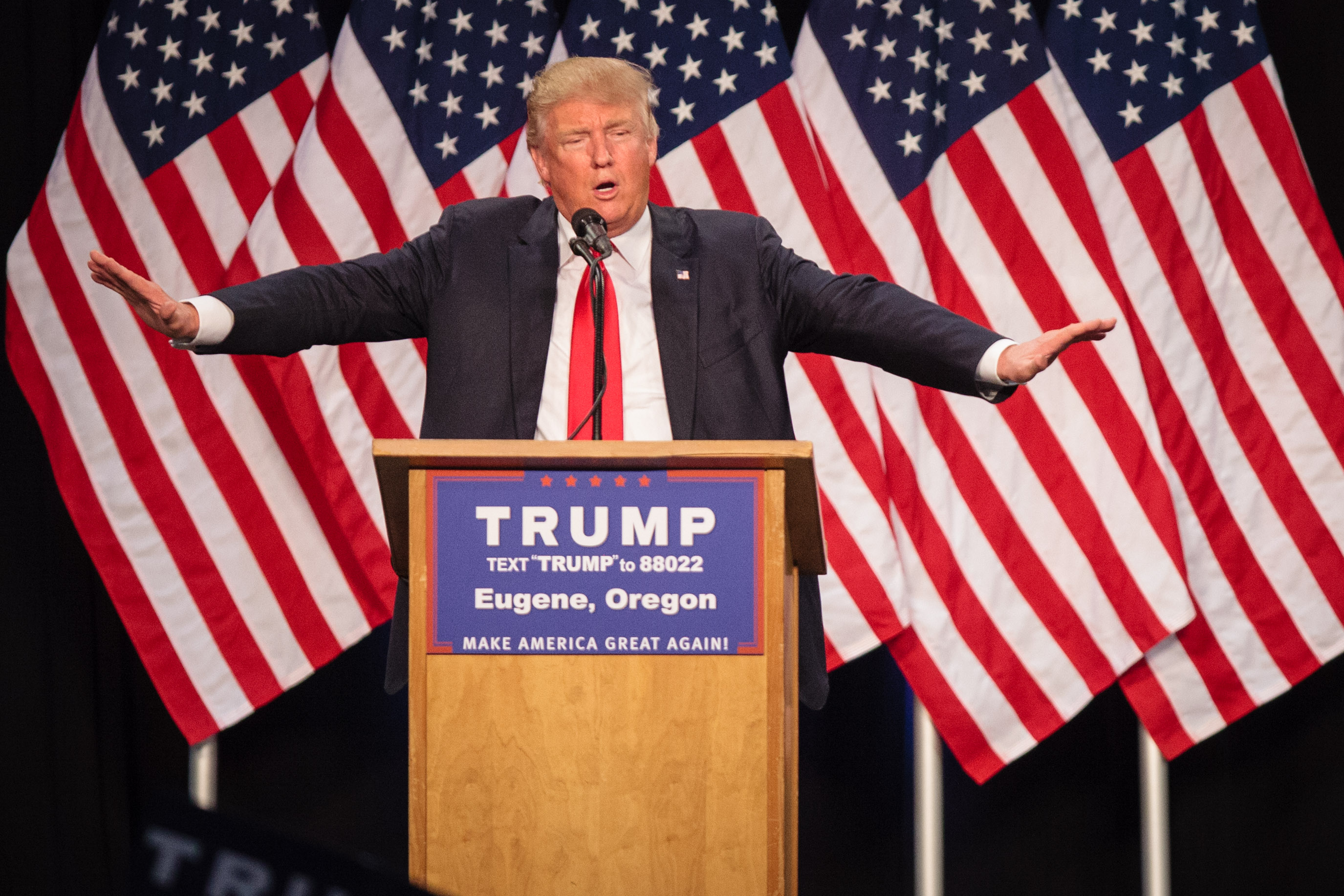 US Republican presidential candidate Donald Trump addresses the audience in Eugene, Oregon on May 6, 2016.