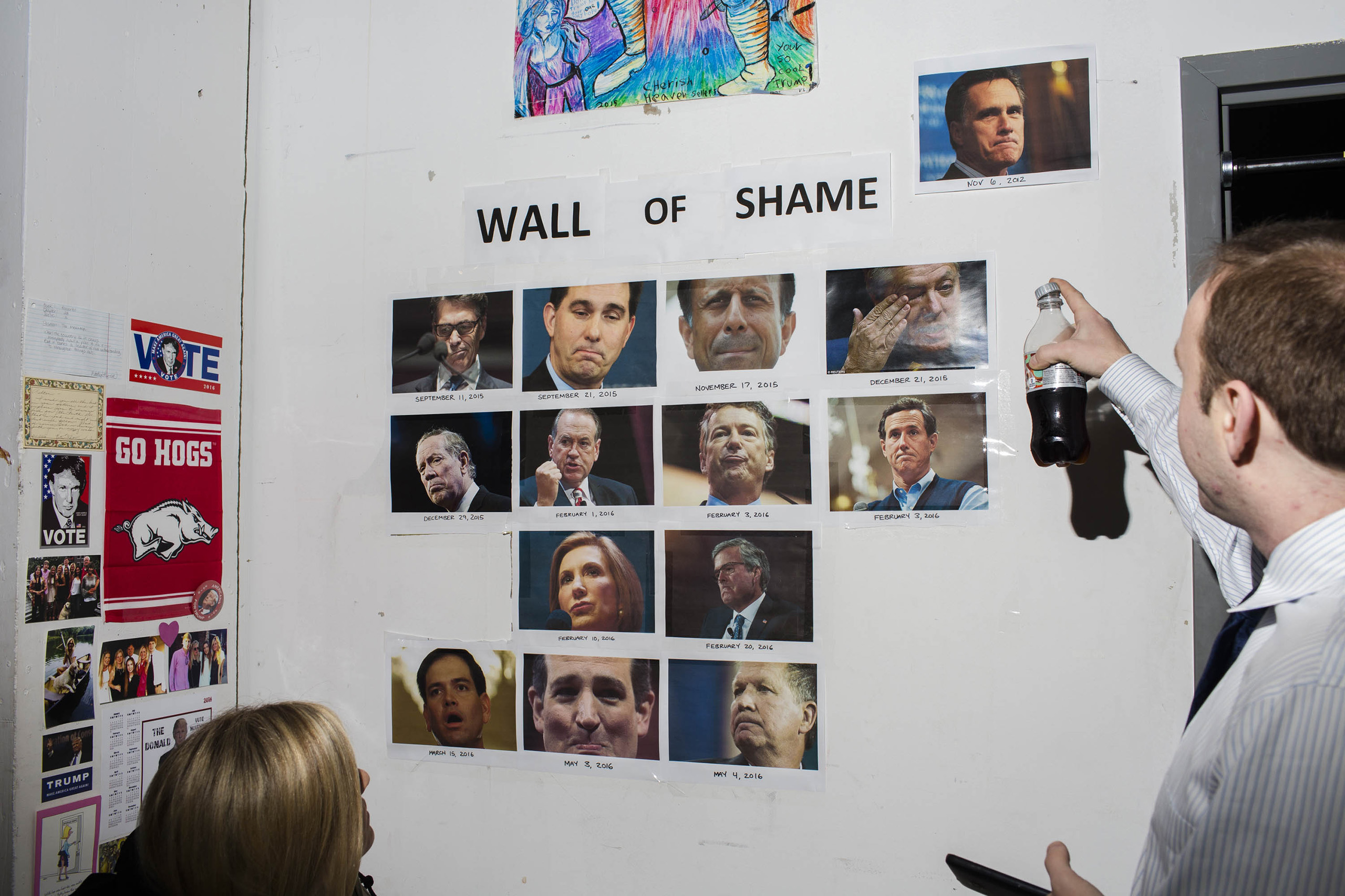 The wall of shame featuring Republican leaders who have criticized Trump, like former presidential candidate Mitt Romney inside the campaign headquarters of Donald Trump in New York City, on May 24, 2016.