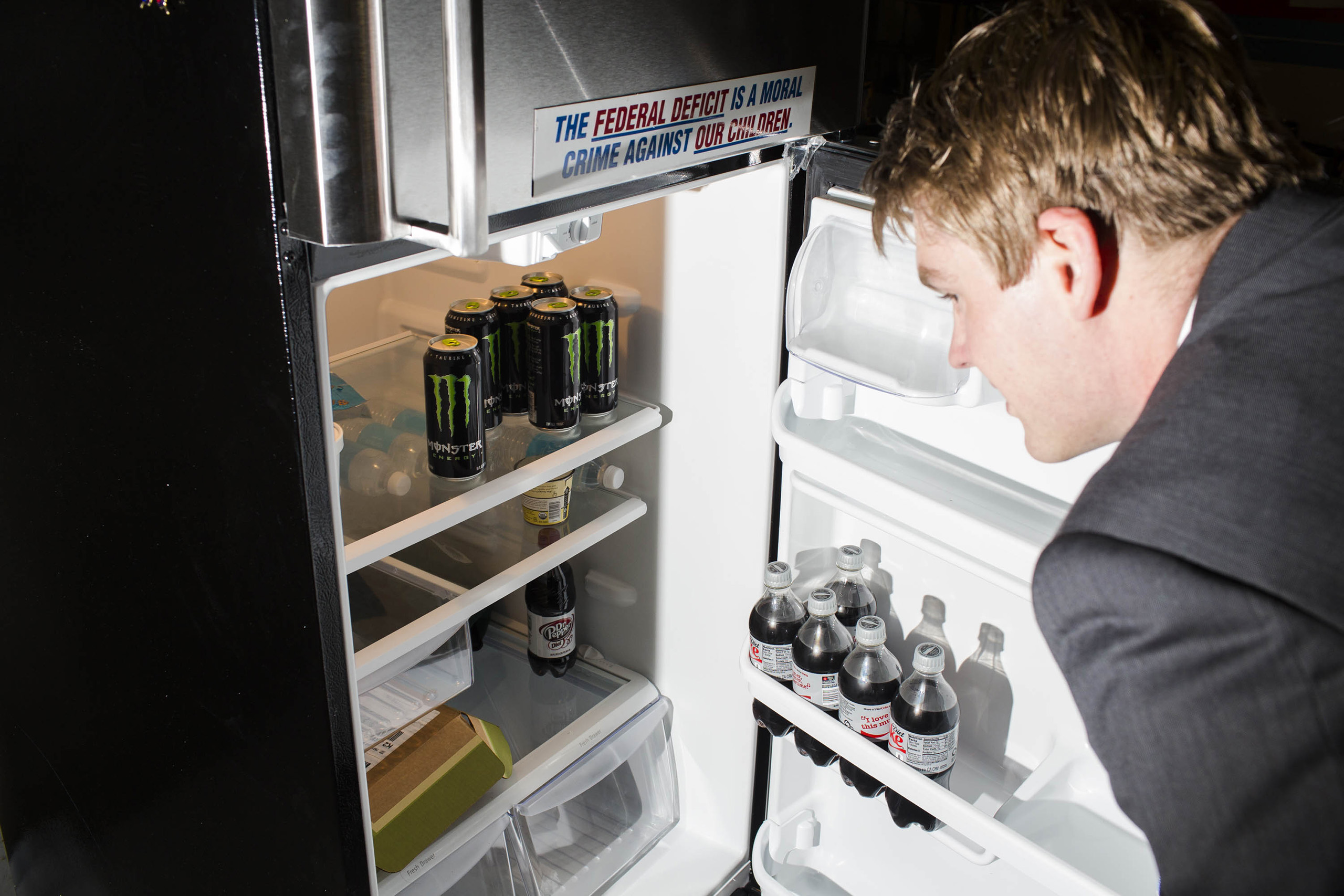 Monster energy drinks inside the refrigerator at the campaign headquarters of Donald Trump on May 24, 2016, in Trump Tower in New York City.