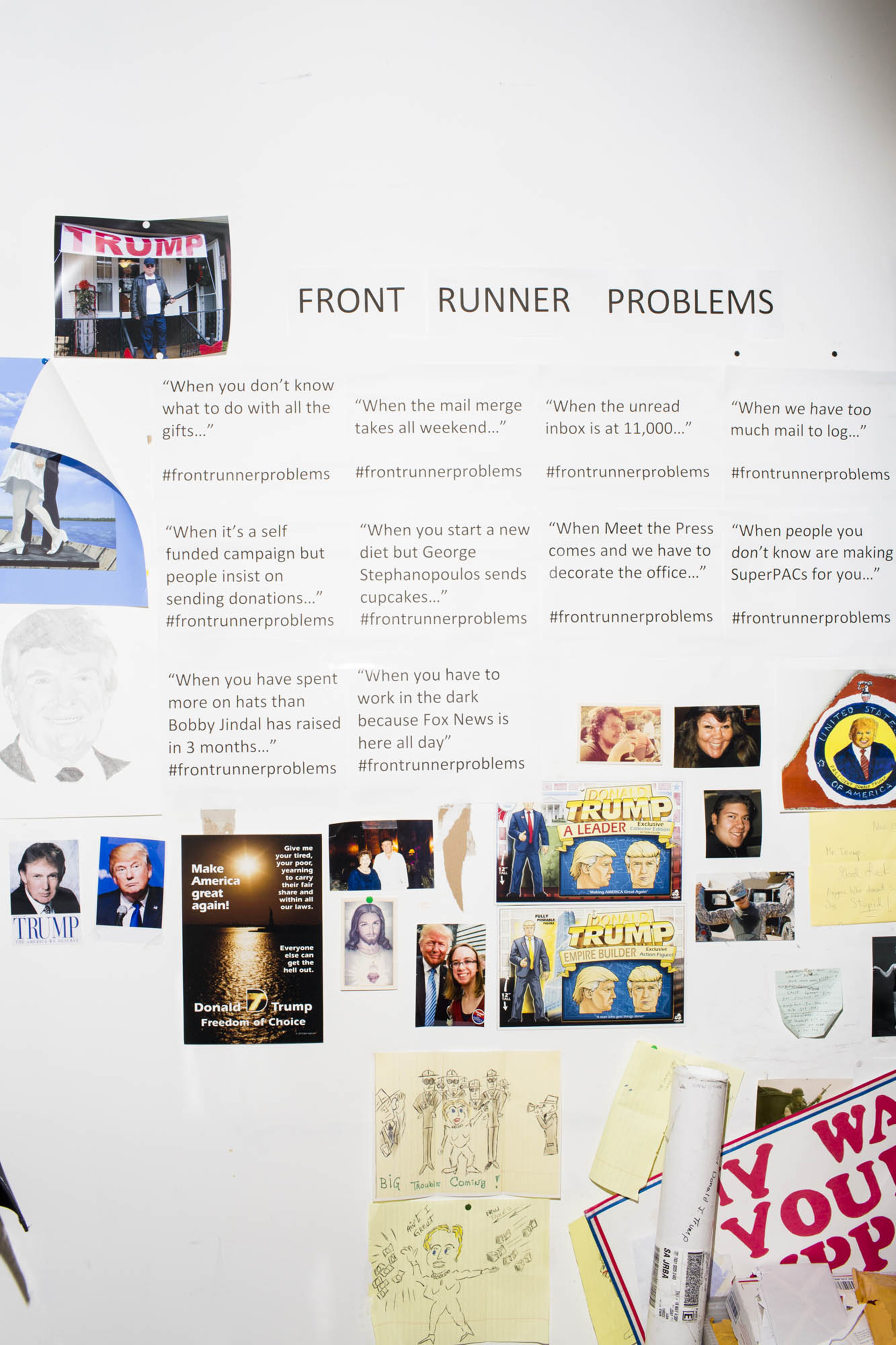 A wall decorated with  Front Runner Problems  inside the campaign headquarters of Donald Trump on May 24, 2016, in Trump Tower in New York City.