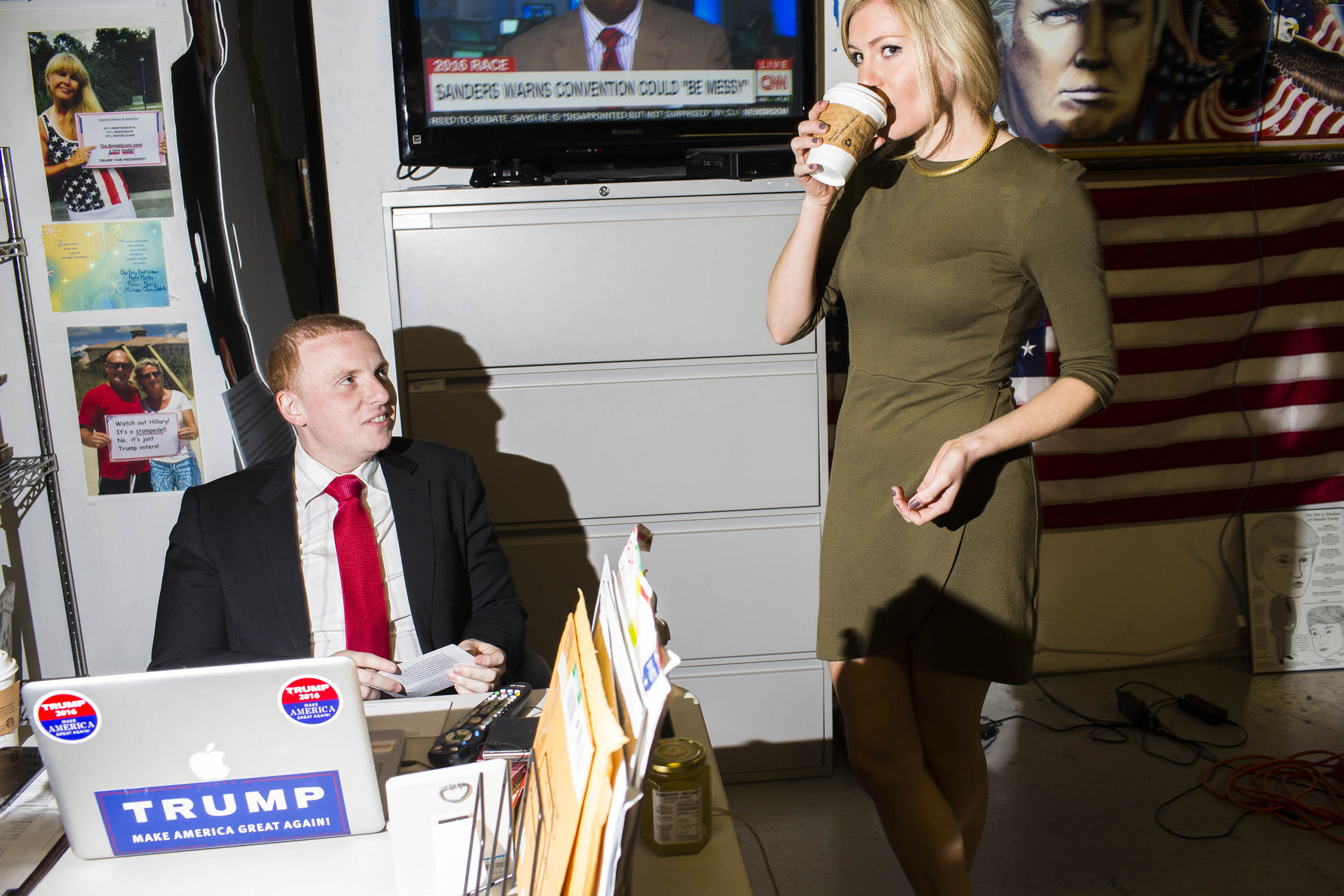 Staff members inside the campaign headquarters of Donald Trump on May 24, 2016, in Trump Tower in New York City.