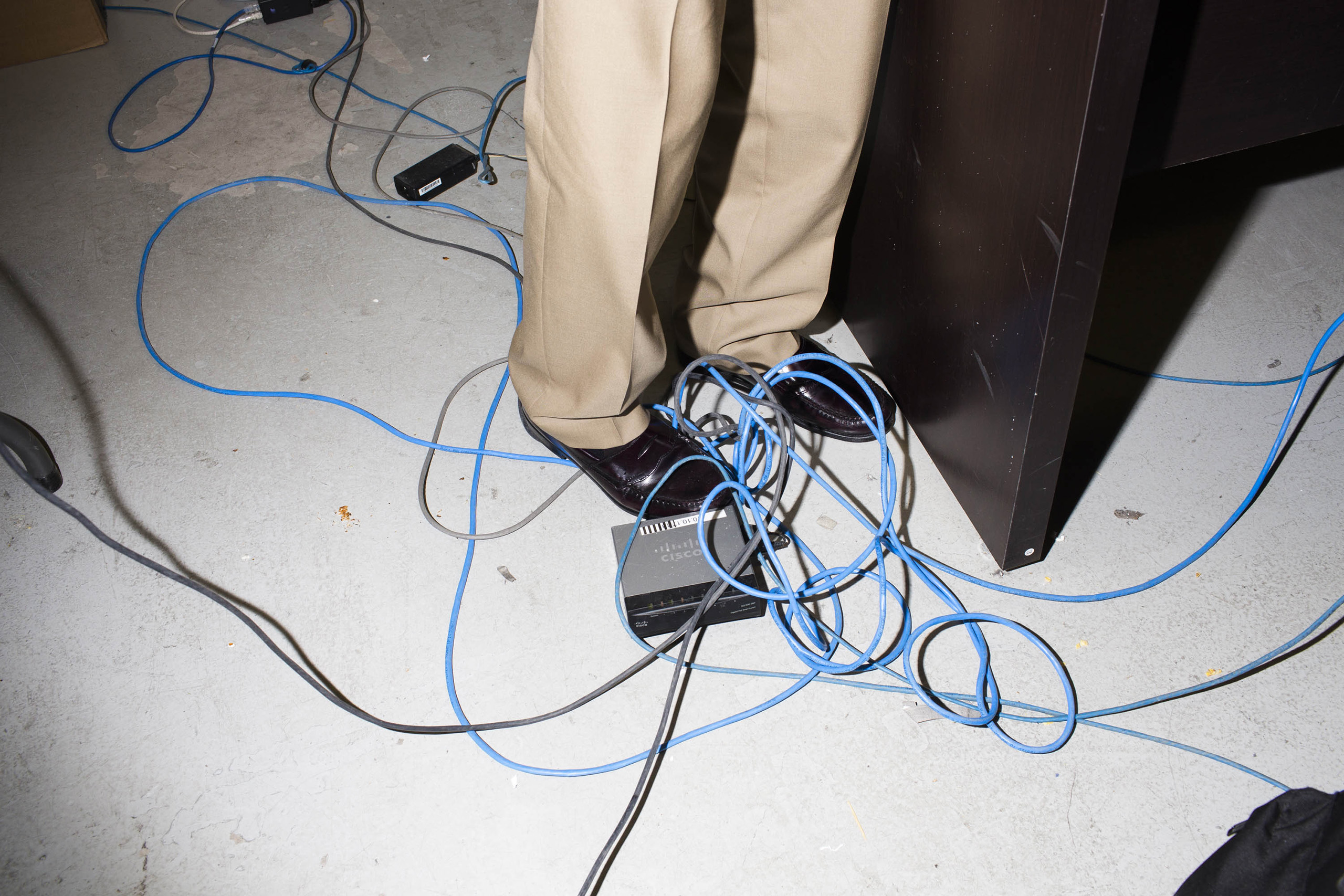 electrical cords inside the campaign headquarters of Donald Trump on May 24, 2016, in Trump Tower in New York City.