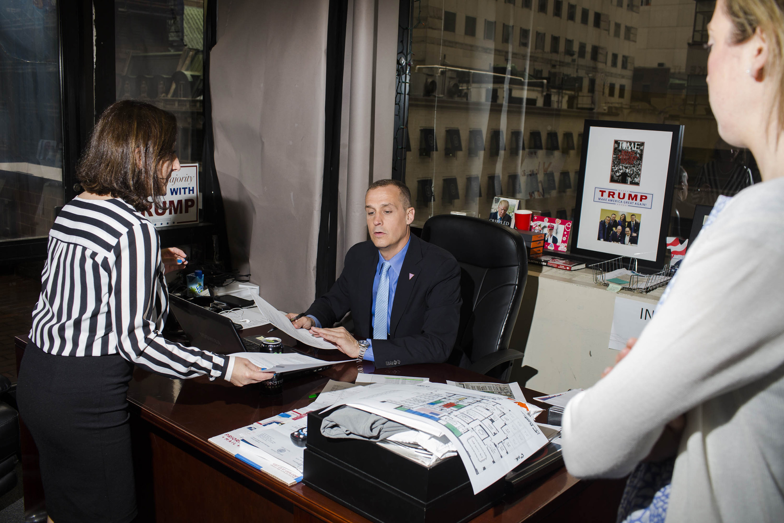 Trump's campaign manager Corey Lewandowski inside the campaign headquarters of Donald Trump on May 24, 2016, in Trump Tower in New York City.