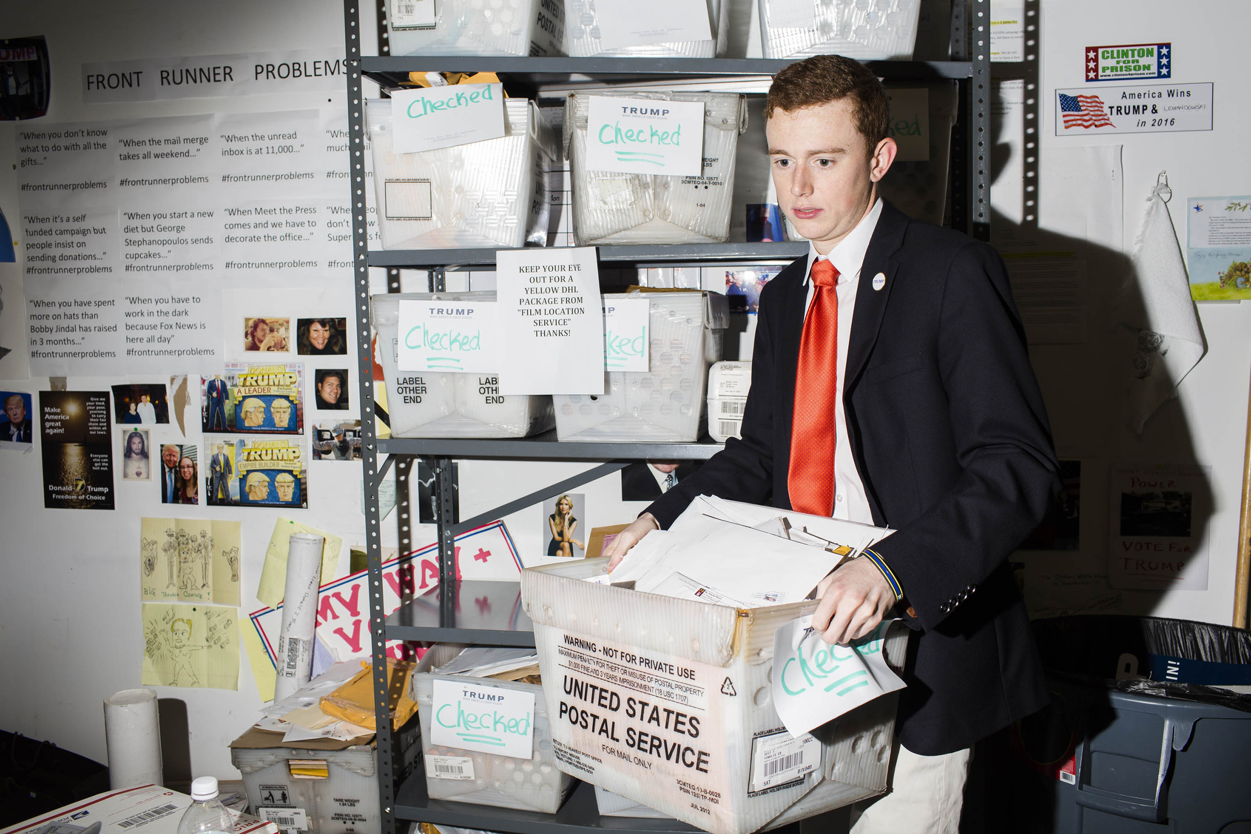 Checking mail at the campaign headquarters of Donald Trump on May 24, 2016, in Trump Tower, New York City.