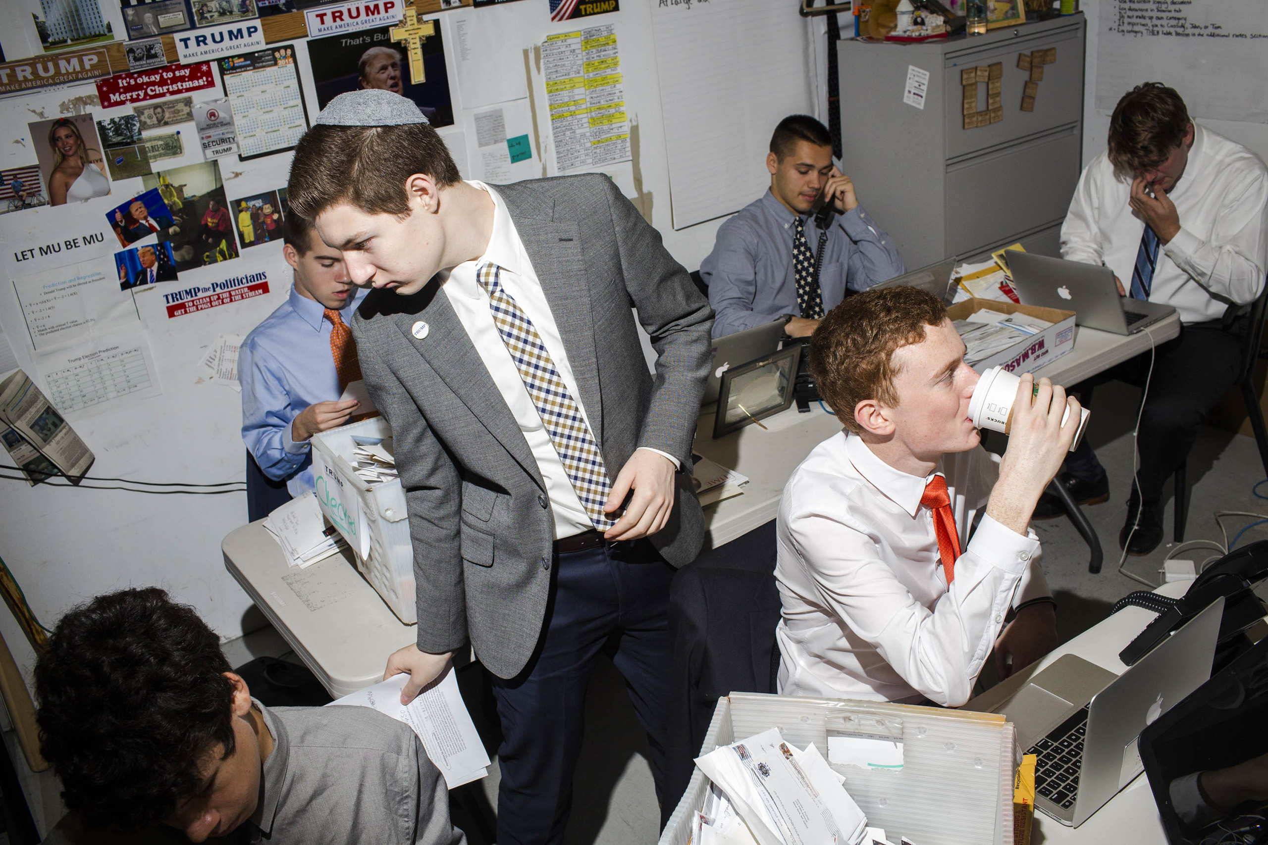 Young workers inside the campaign headquarters of Donald Trump on May 24, 2016, in Trump Tower in New York City.