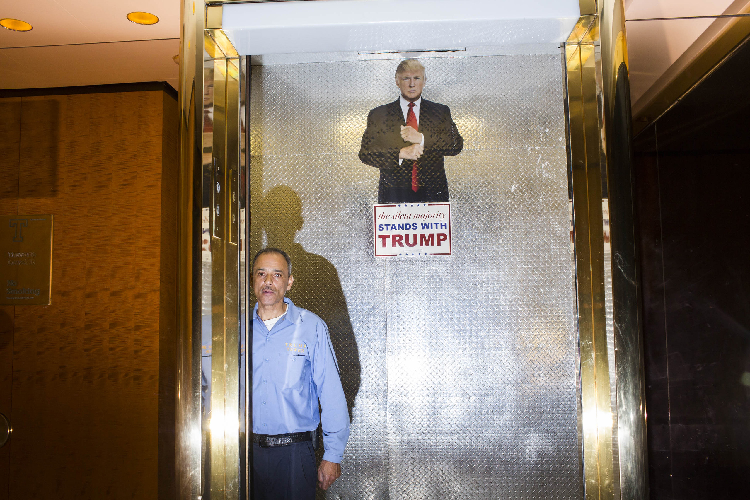 The freight elevator inside the campaign headquarters of Donald Trump on May 24, 2016, in Trump Tower, New York City.