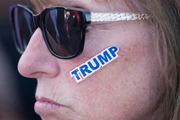 A supporter is seen with a sticker on her face during a Republican presidential candidate Donald Trump rally at the The Northwest Washington Fair and Event Center on May 7, 2016 in Lynden, Washington.