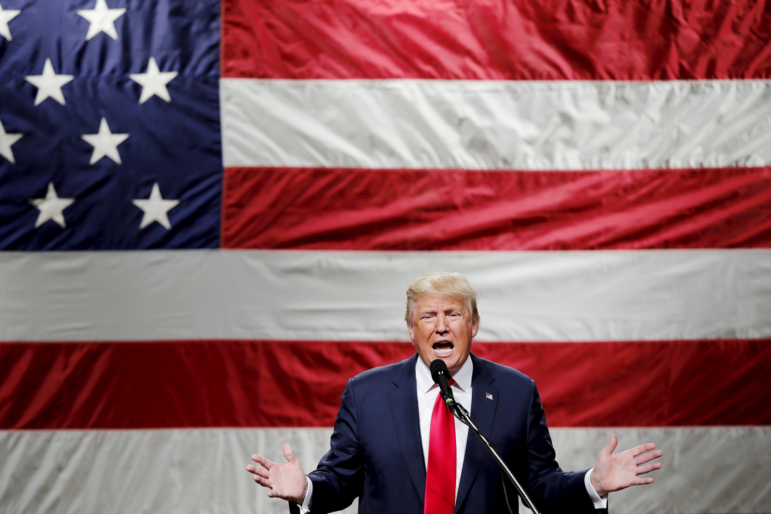 Republican presidential candidate Donald Trump speaks to supporters during a campaign rally at Mid-Hudson Civic Center in Poughkeepsie, New York, on April 17, 2016.