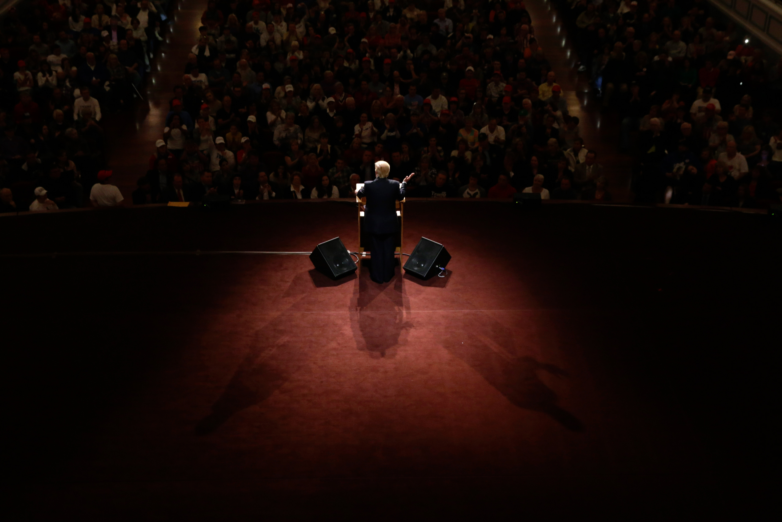 Republican presidential candidate Donald Trump speaks during a rally at The Palladium in Carmel, Ind., on May 2, 2016.