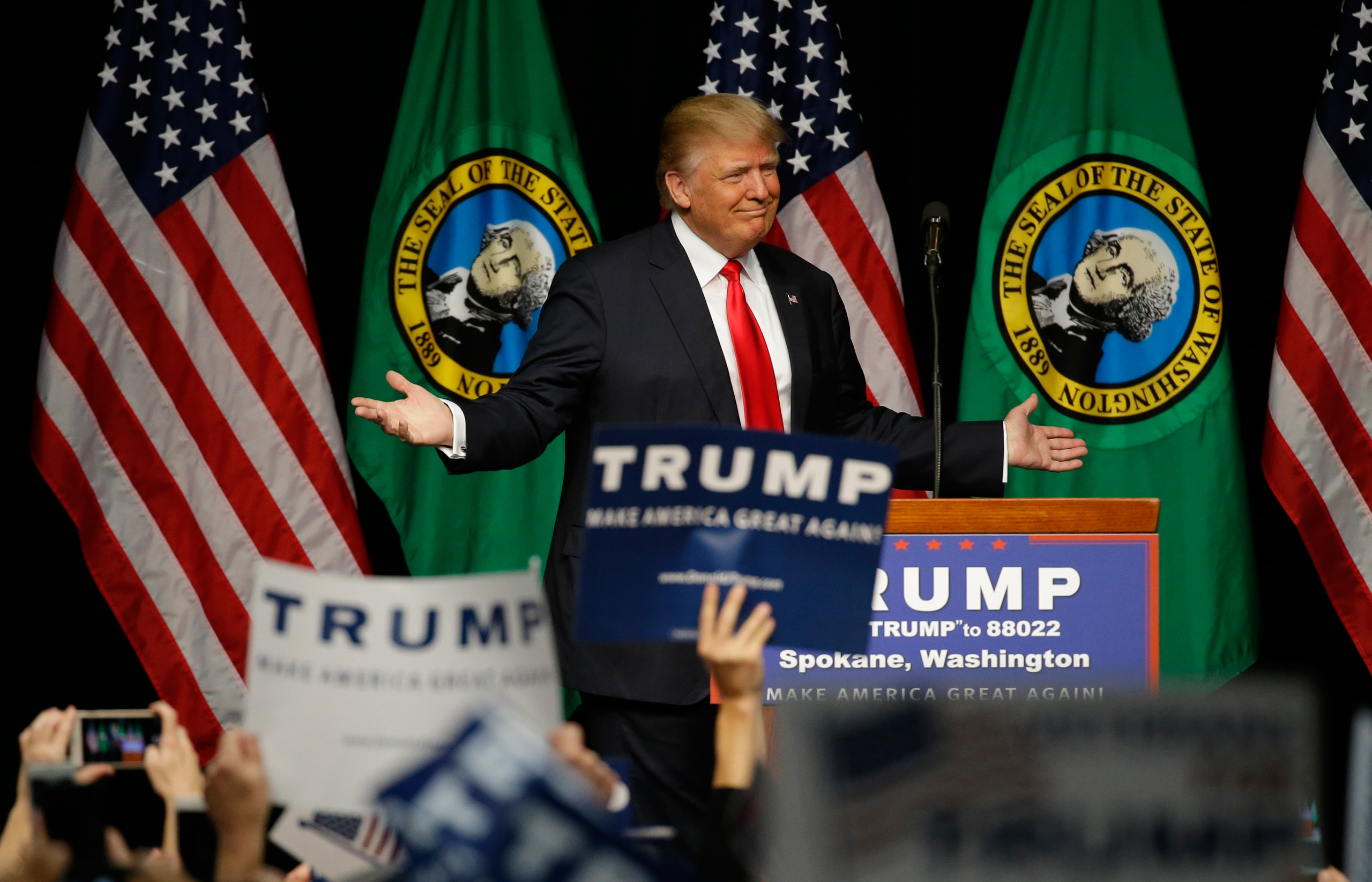 Republican presidential candidate Donald Trump speaks during a rally in Spokane, Wash., on May 7, 2016.
