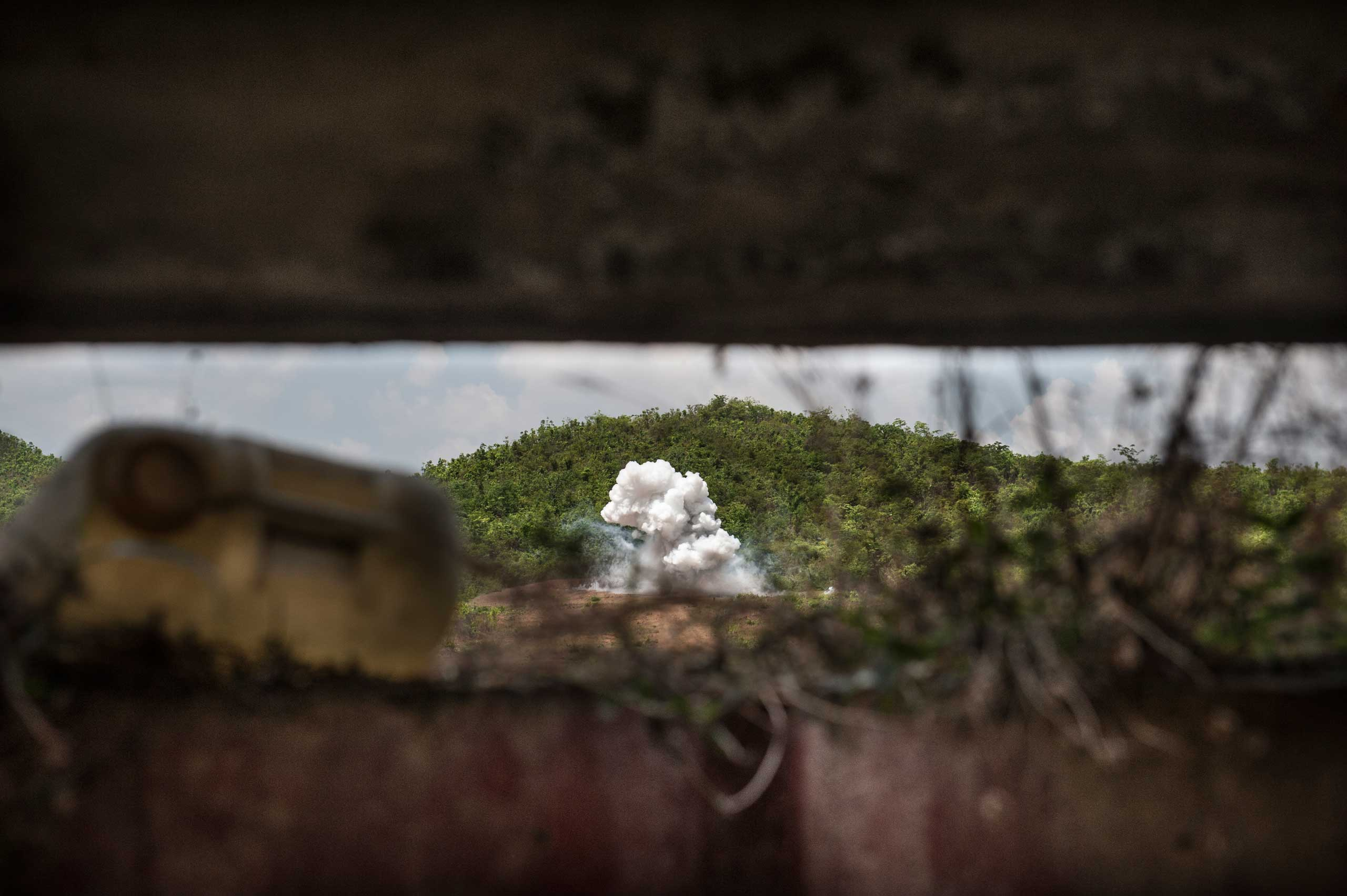 "Detonation of UXO at the ""Elephant Range"" in Kampong Chhanang Province, Cambodia in May 2014."