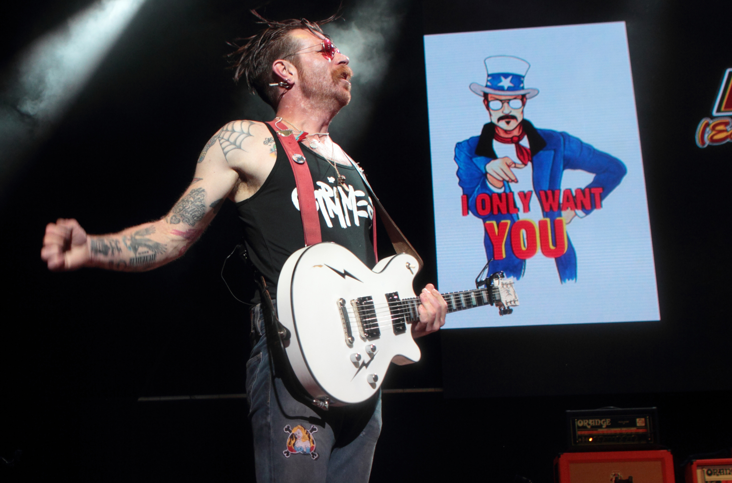 Jesse Hughes of Eagles of Death Metal performs during the Sweetlife Festival at Merriweather Post Pavilion in Columbia, Md., on May 14, 2016.