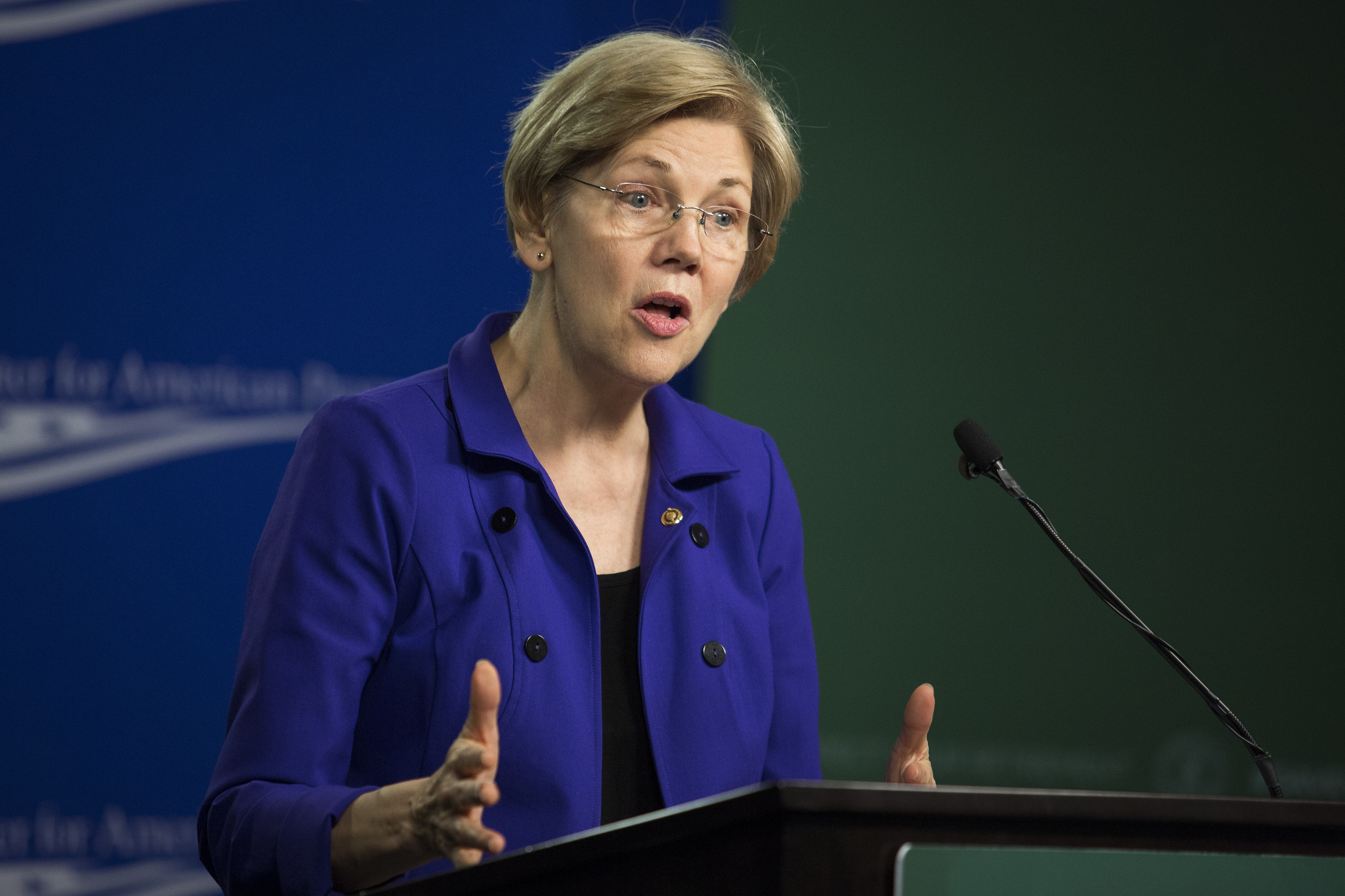 Senator Elizabeth Warren, a Democrat from Massachusetts, speaks during a U.S. Labor Department news conference at the Center for American Progress in Washington on April 6, 2016.