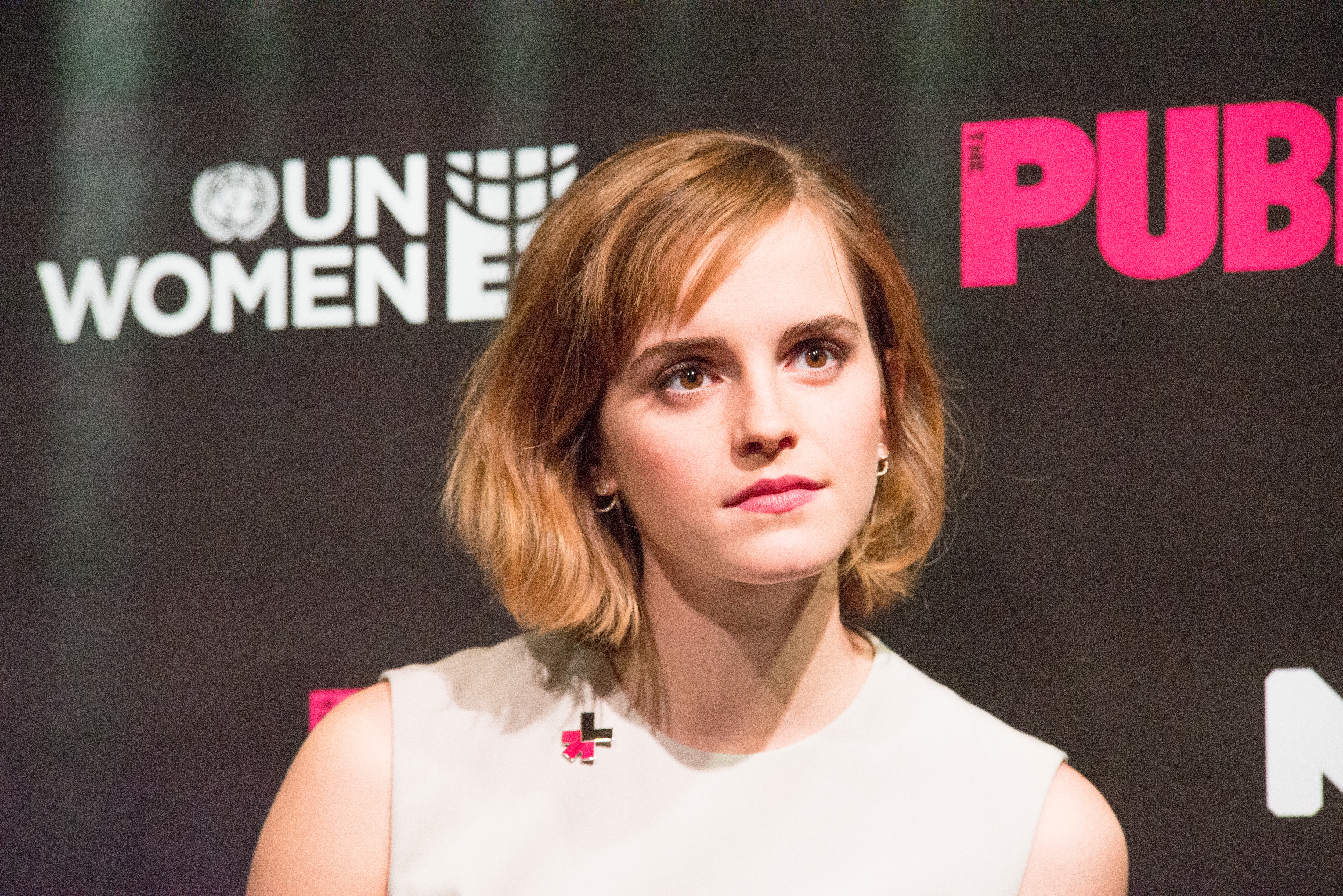 Emma Watson participates in the panel discussion. On International Women's Day, NYC First Lady Chirlaine McCray, UN Women Executive Director Phumzile Mlambo-Ngcuka, Actress and HeForShe advocate Emma Watson and Actor Forest Whitaker participated in a press briefing at Joe's Pub in the East Village of Manhattan for the launch of HeForShe Art Week (March 8-15).