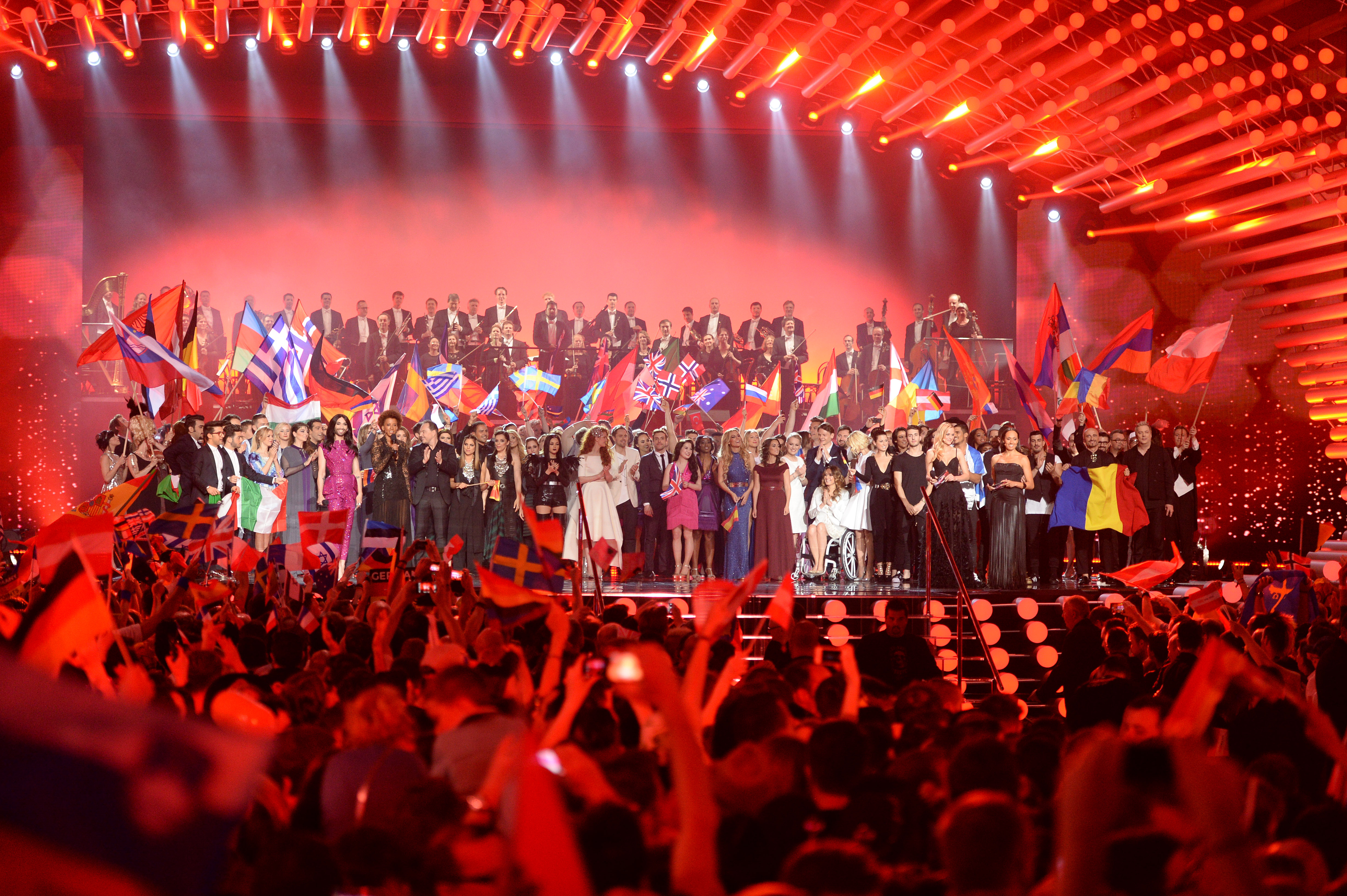 All participants stand on stage during the final of the Eurovision Song Contest 2015 on May 23, 2015 in Vienna, Austria.