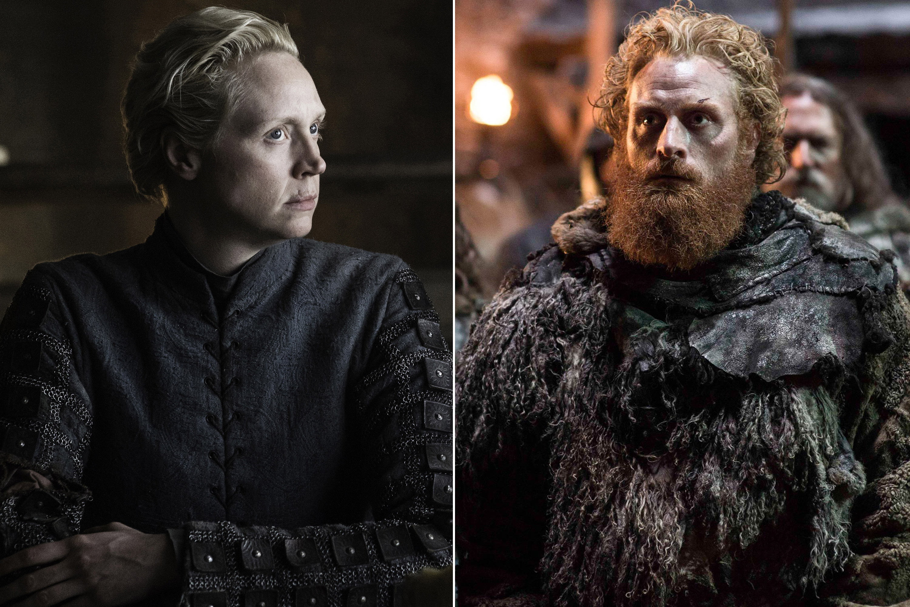 Kristofer Hivju as Tormund Giantsbane and Gwendoline Christie as Brienne of Tarth in Game of Thrones.