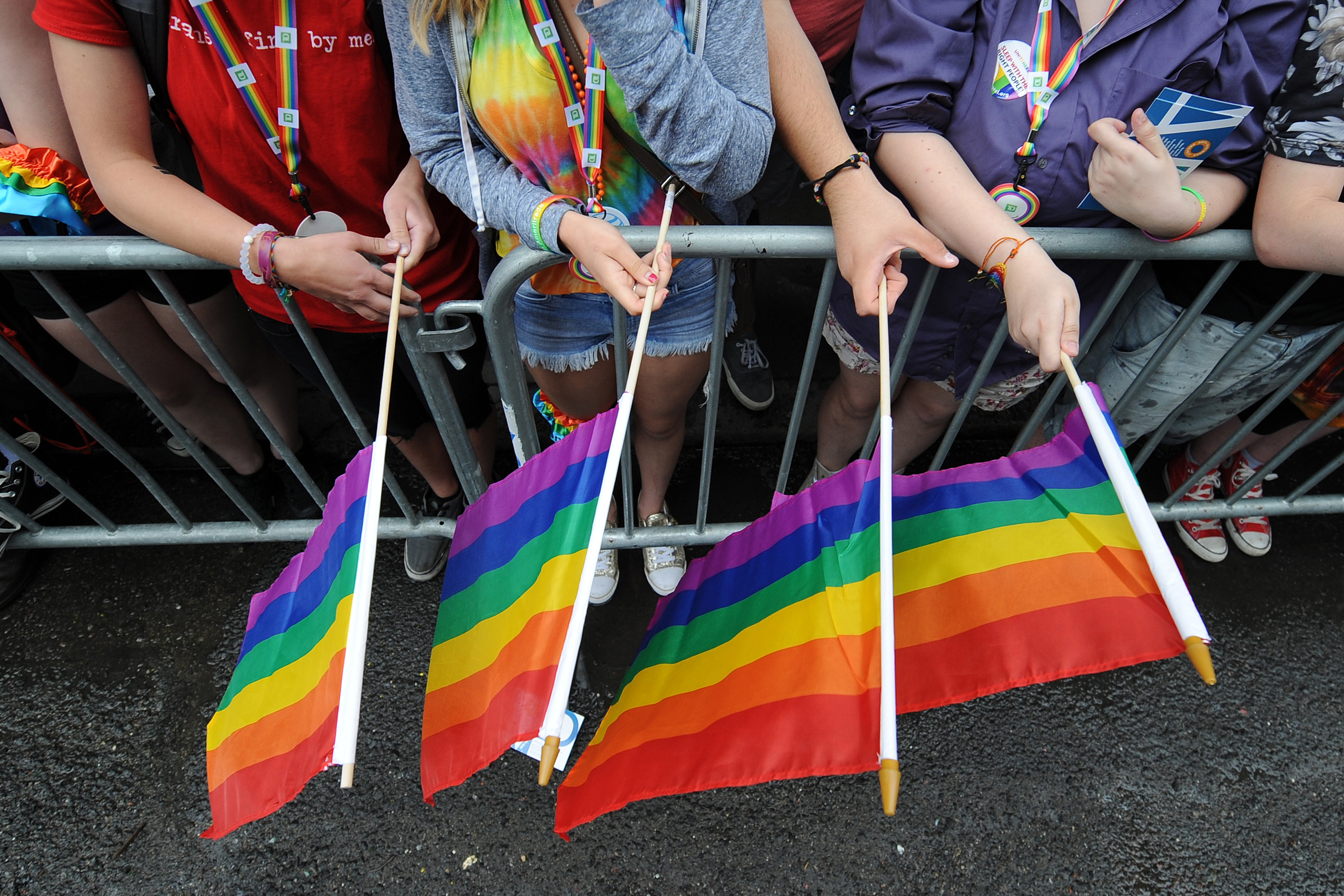 Parade marchers celebrate as they make their way down Fifth Avenue during the 2015 New York City Gay Pride Parade in New York on June 28, 2015.
