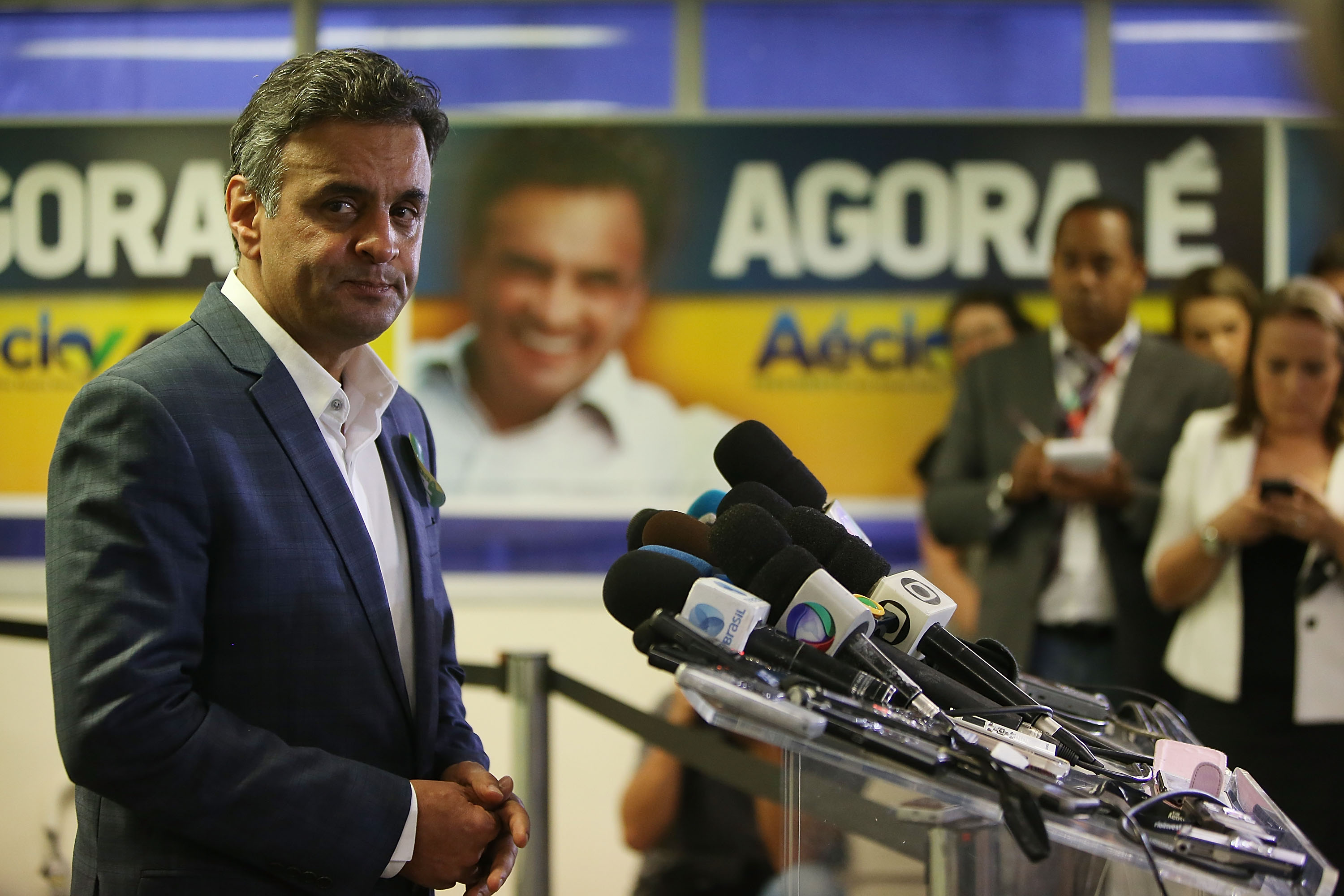 Presidential candidate of the Brazilian Social Democratic Party (PSDB) Aécio Neves listens to a question at a press conference on Oct. 23, 2014 in Rio de Janeiro