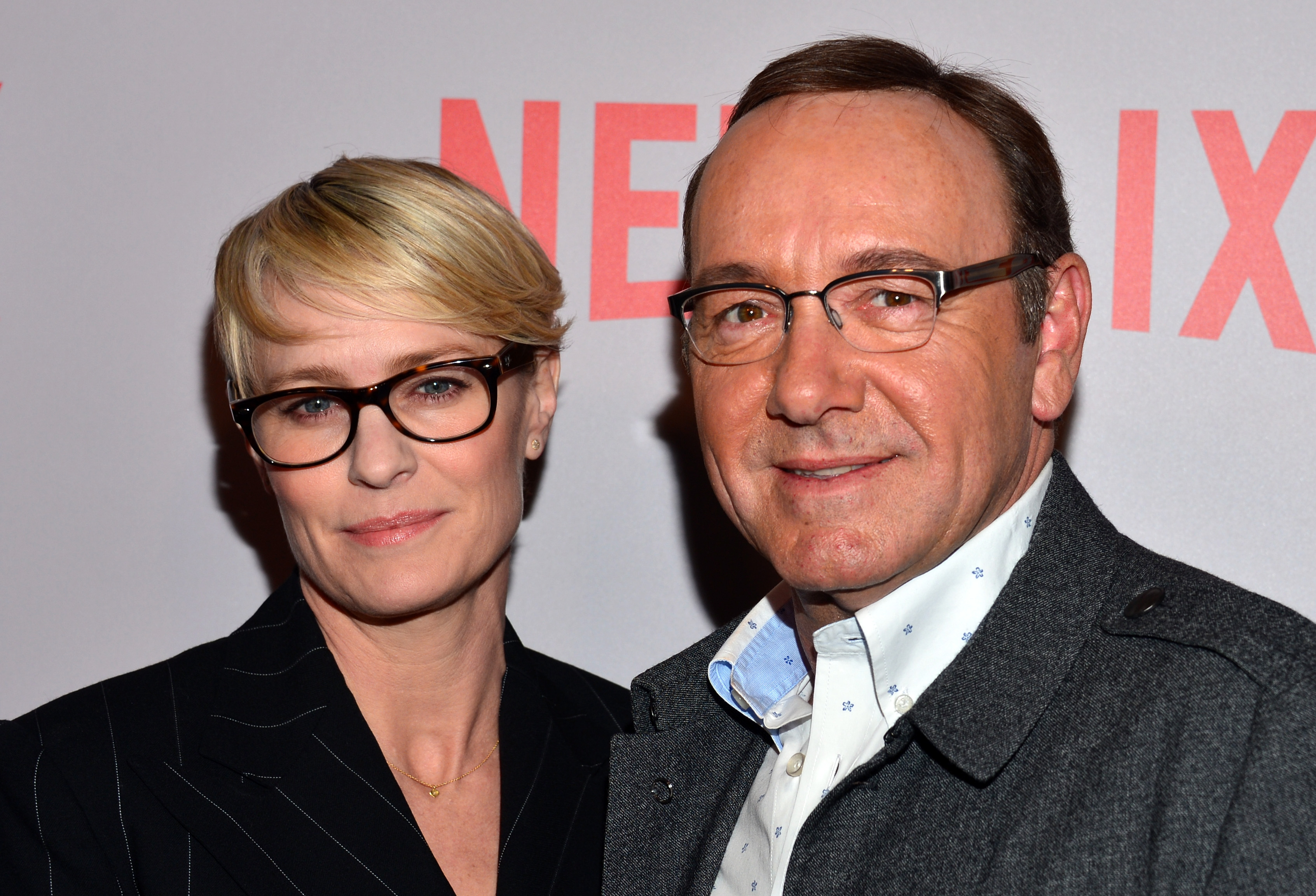 Actress Robin Wright (L) and actor Kevin Spacey attend Netflix's 'House Of Cards' Q&A screening event on April 27, 2015 in Beverly Hills, Calif.